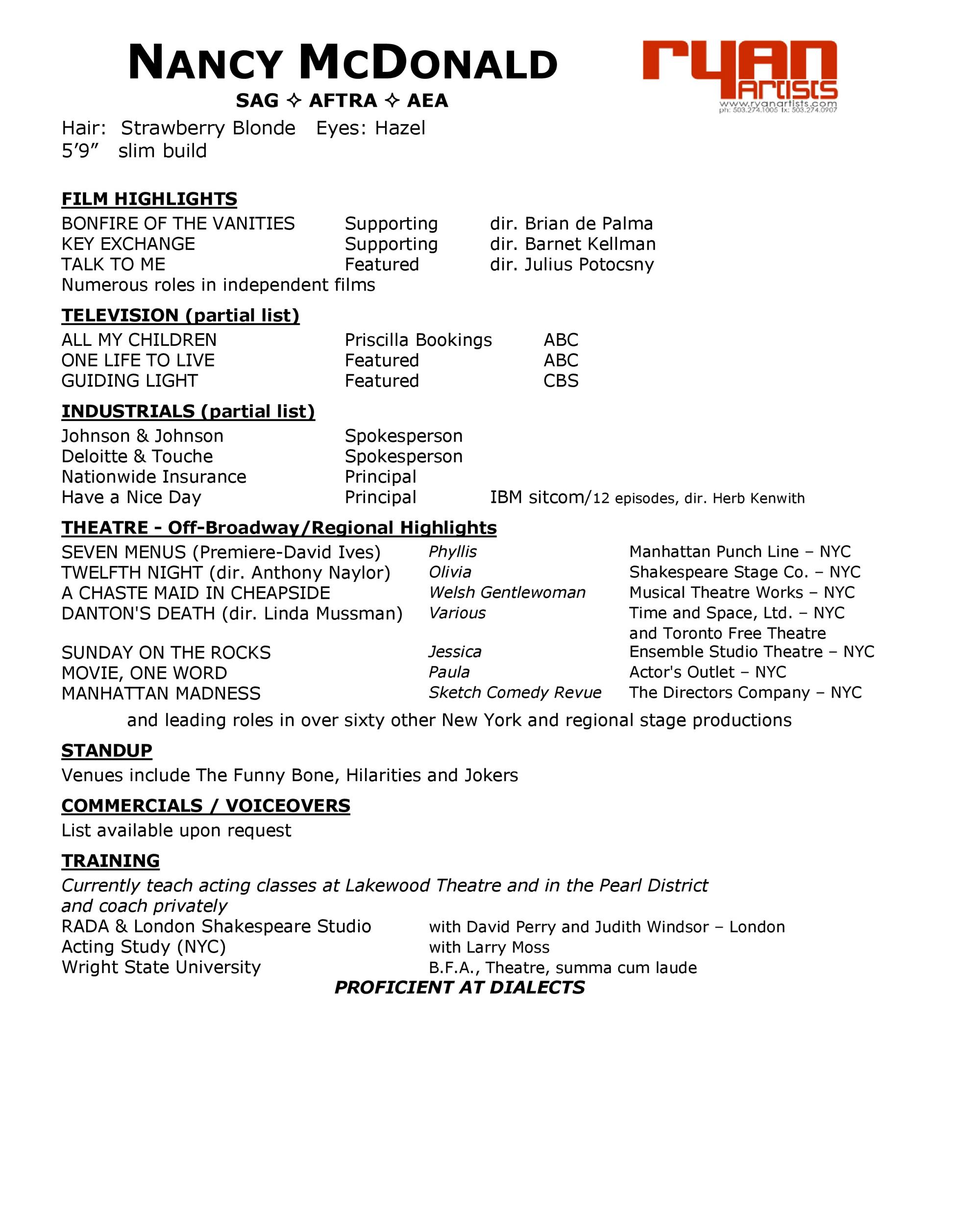 Free acting resume template 28