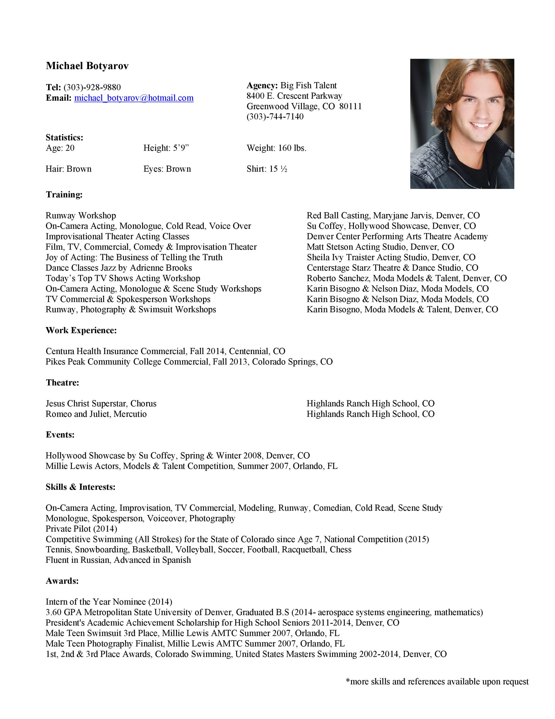 Free acting resume template 30