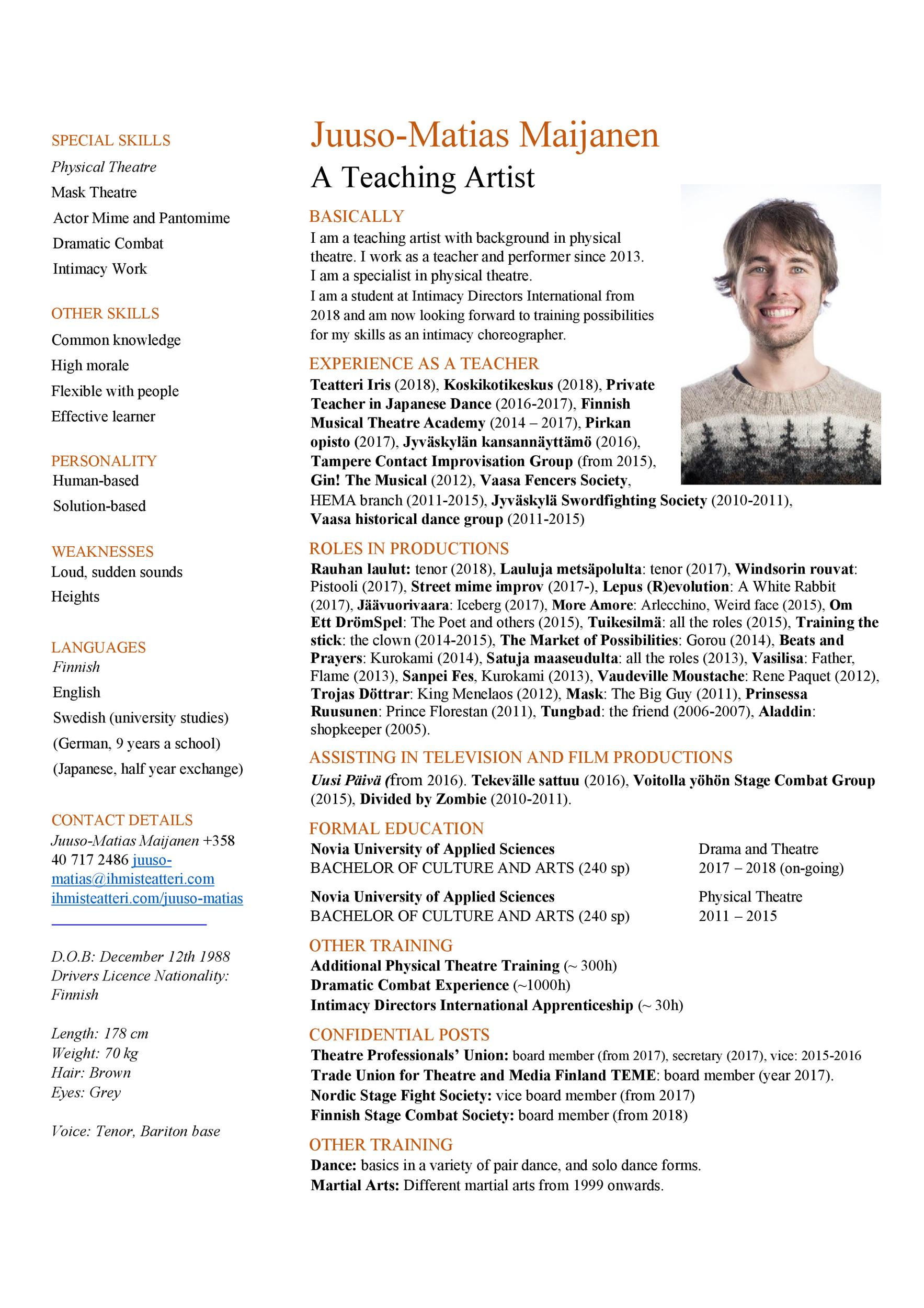 Theatre Resume Template from templatelab.com