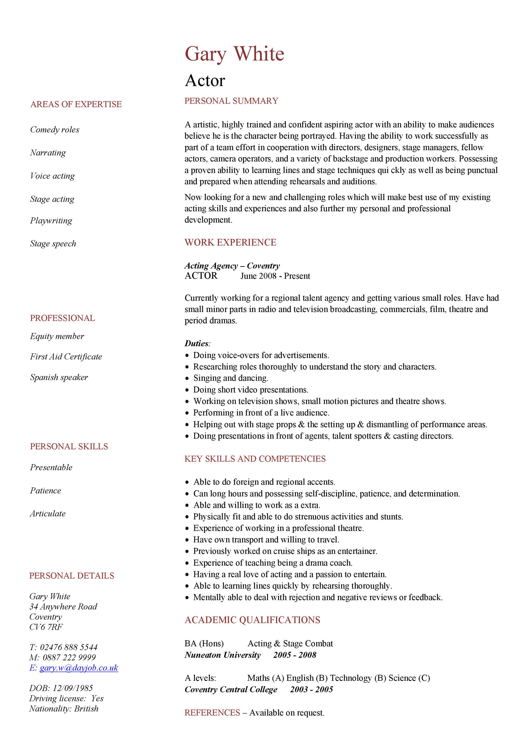 Free acting resume template 37
