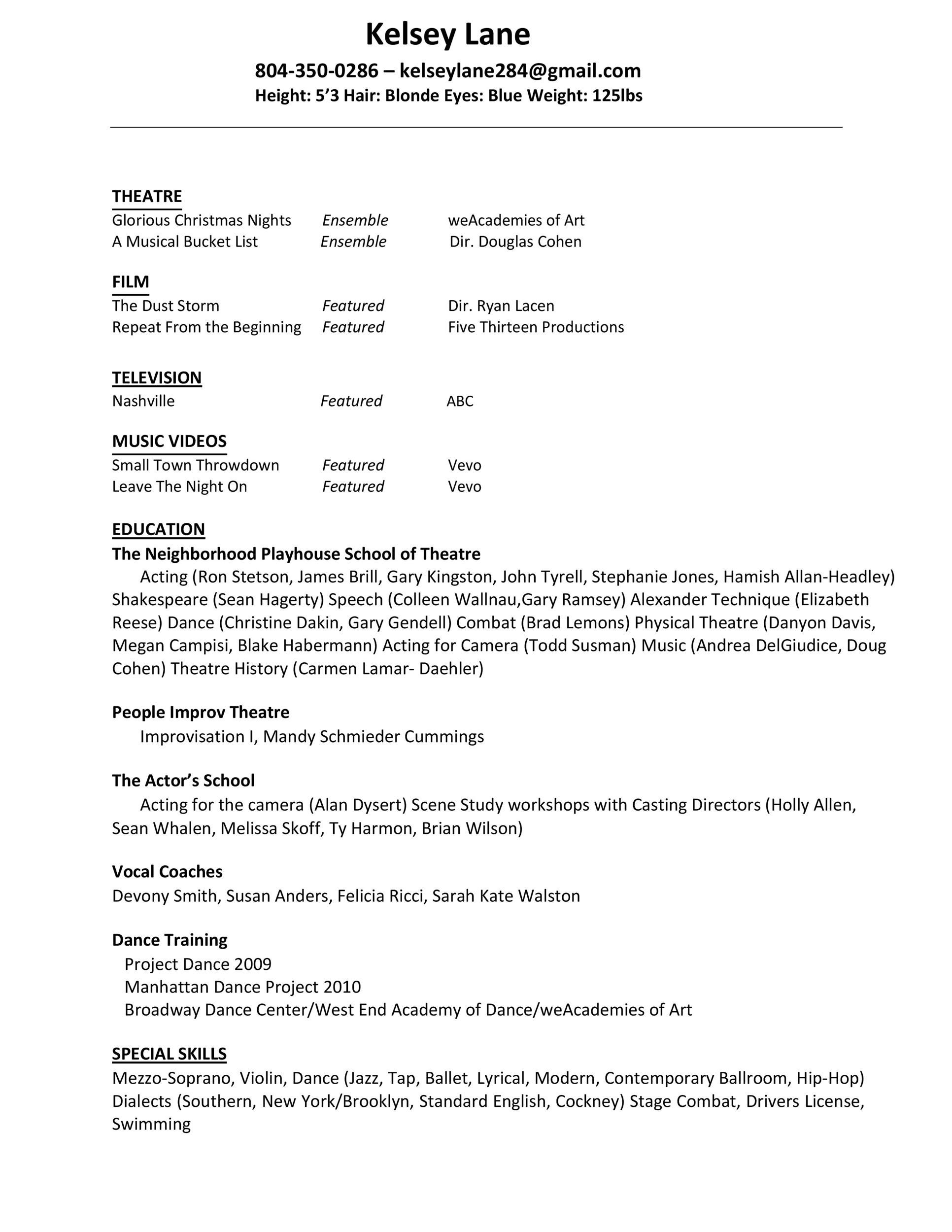 Zip Descargar 50 Free Acting Resume Templates Word Google