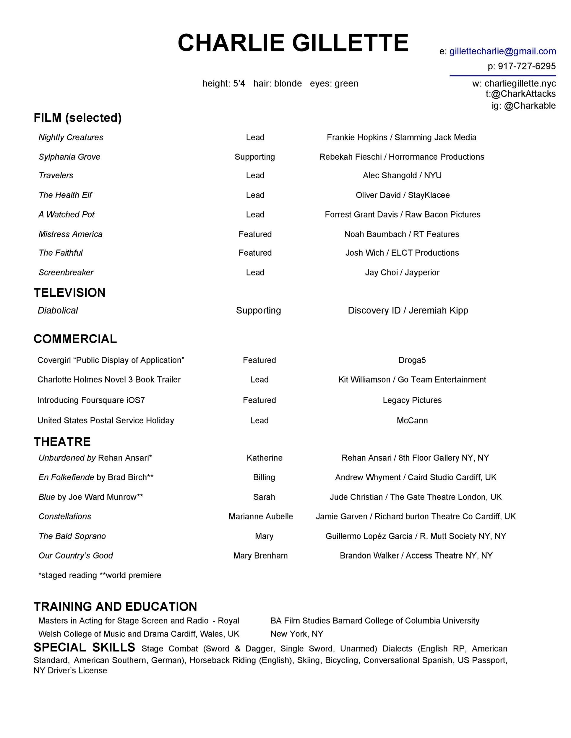 Free acting resume template 45