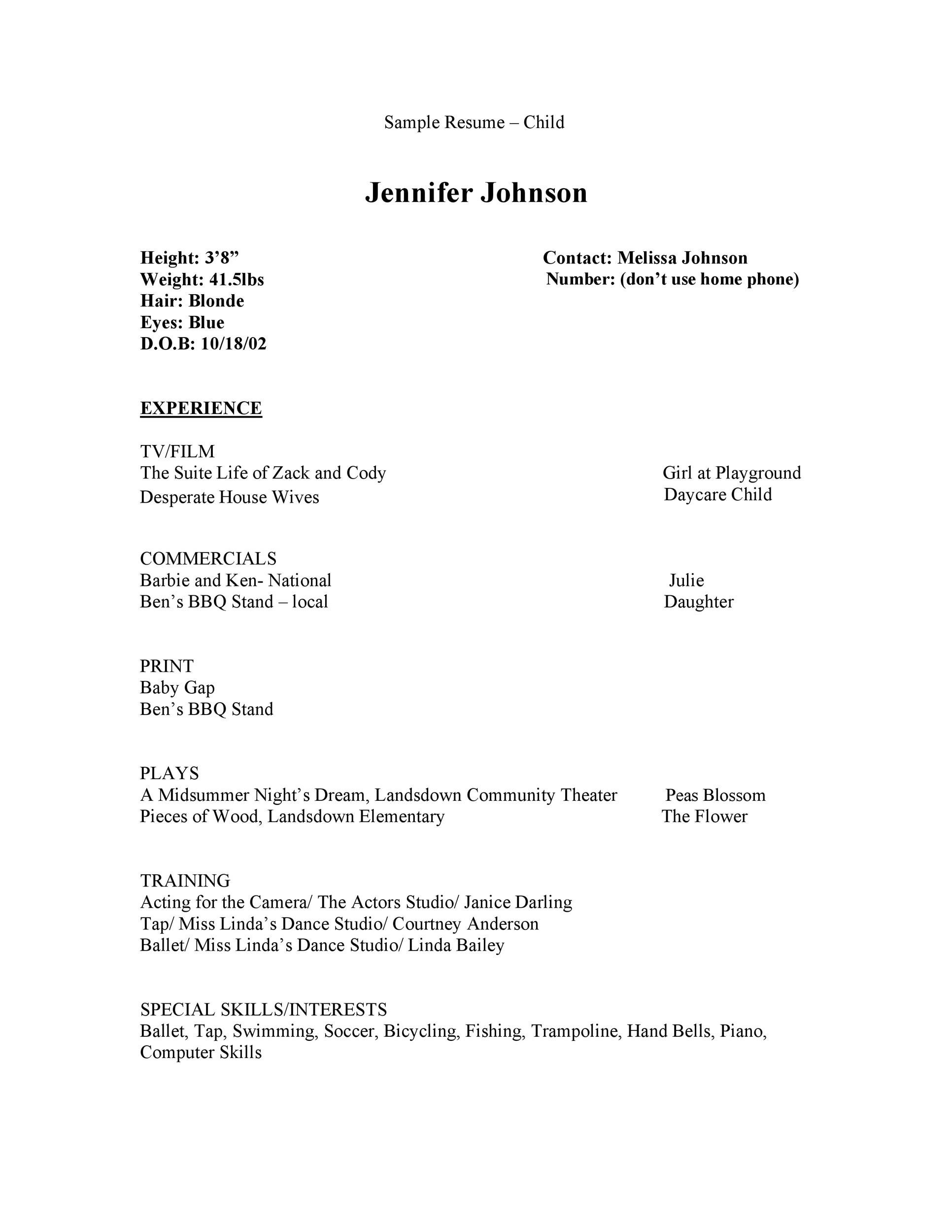 Free acting resume template 46