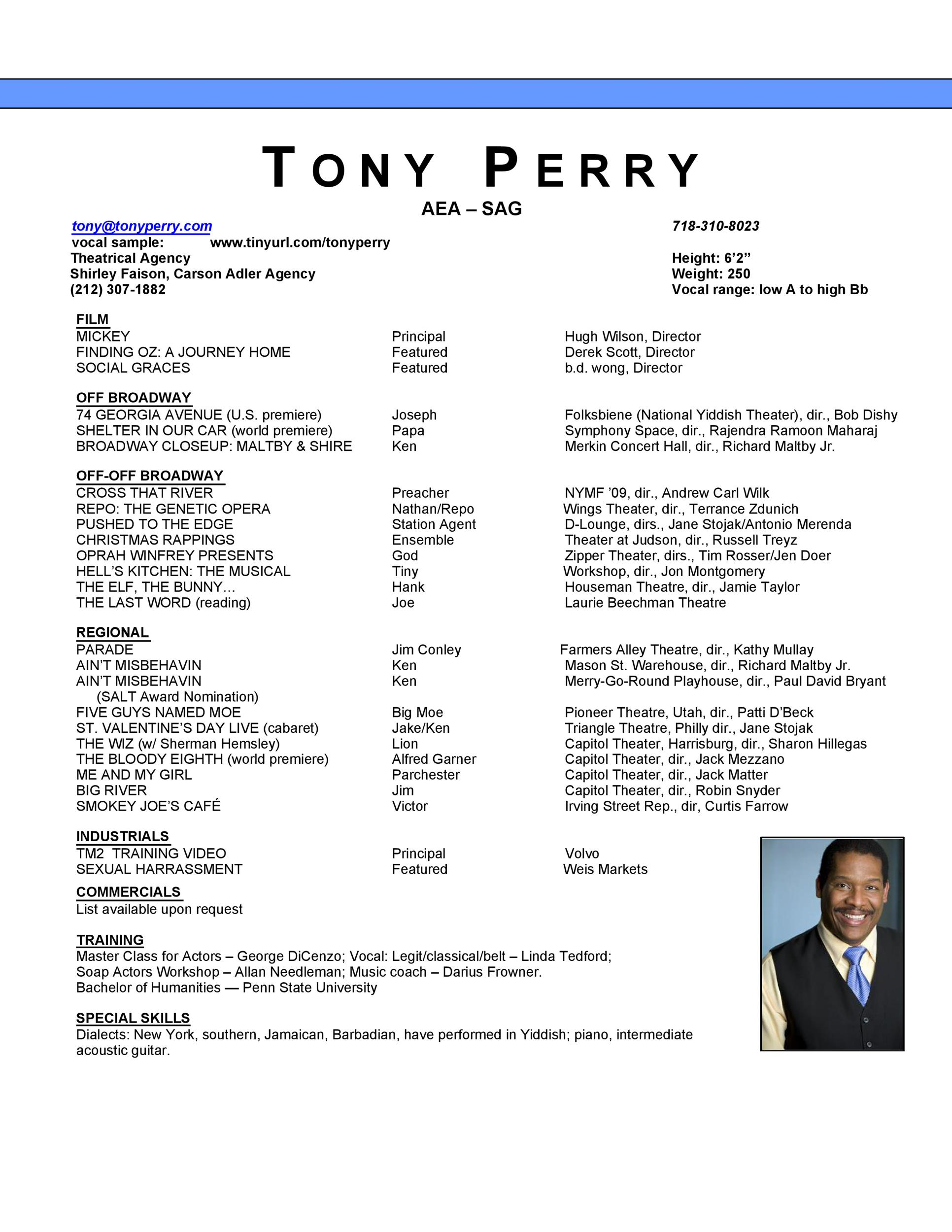 Free acting resume template 48