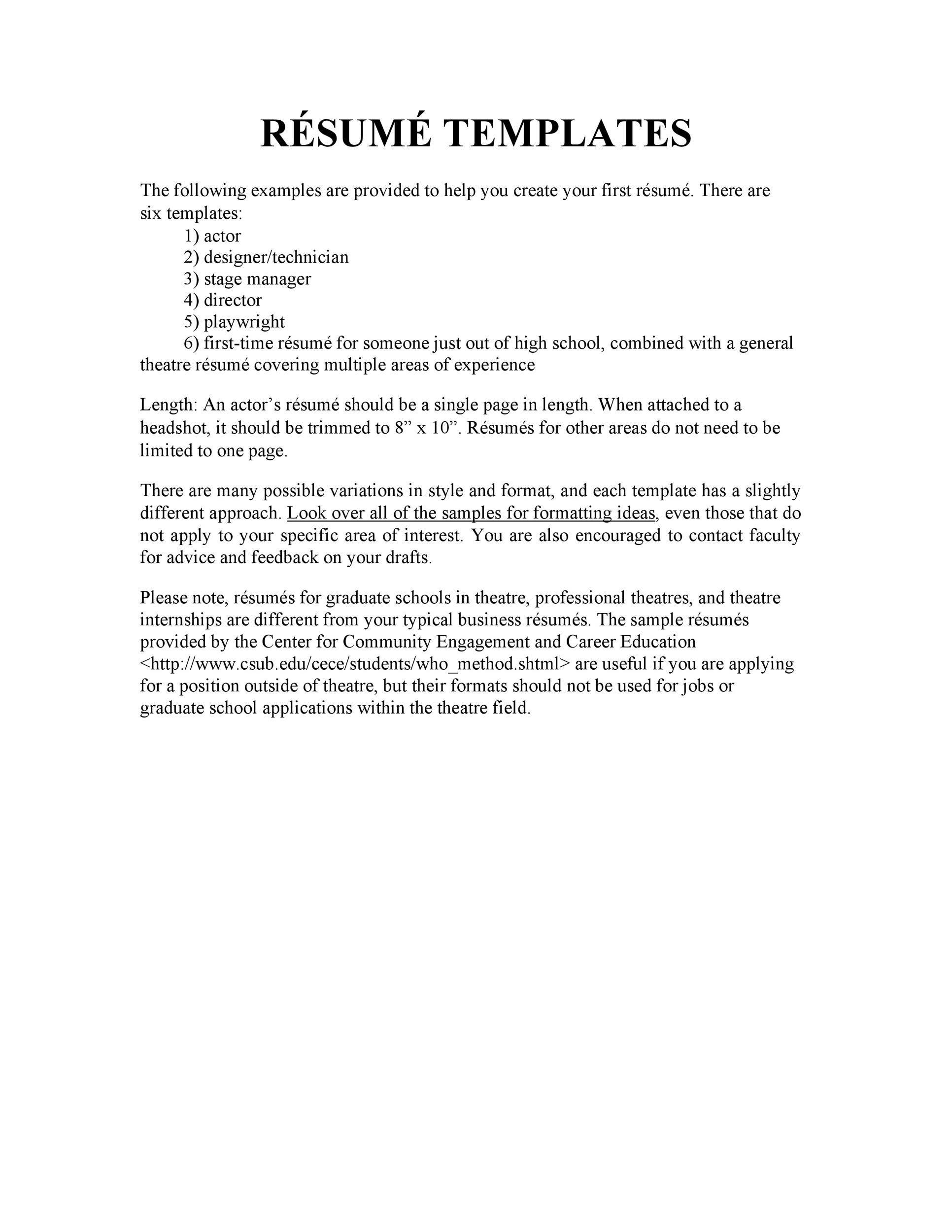 Free acting resume template 49