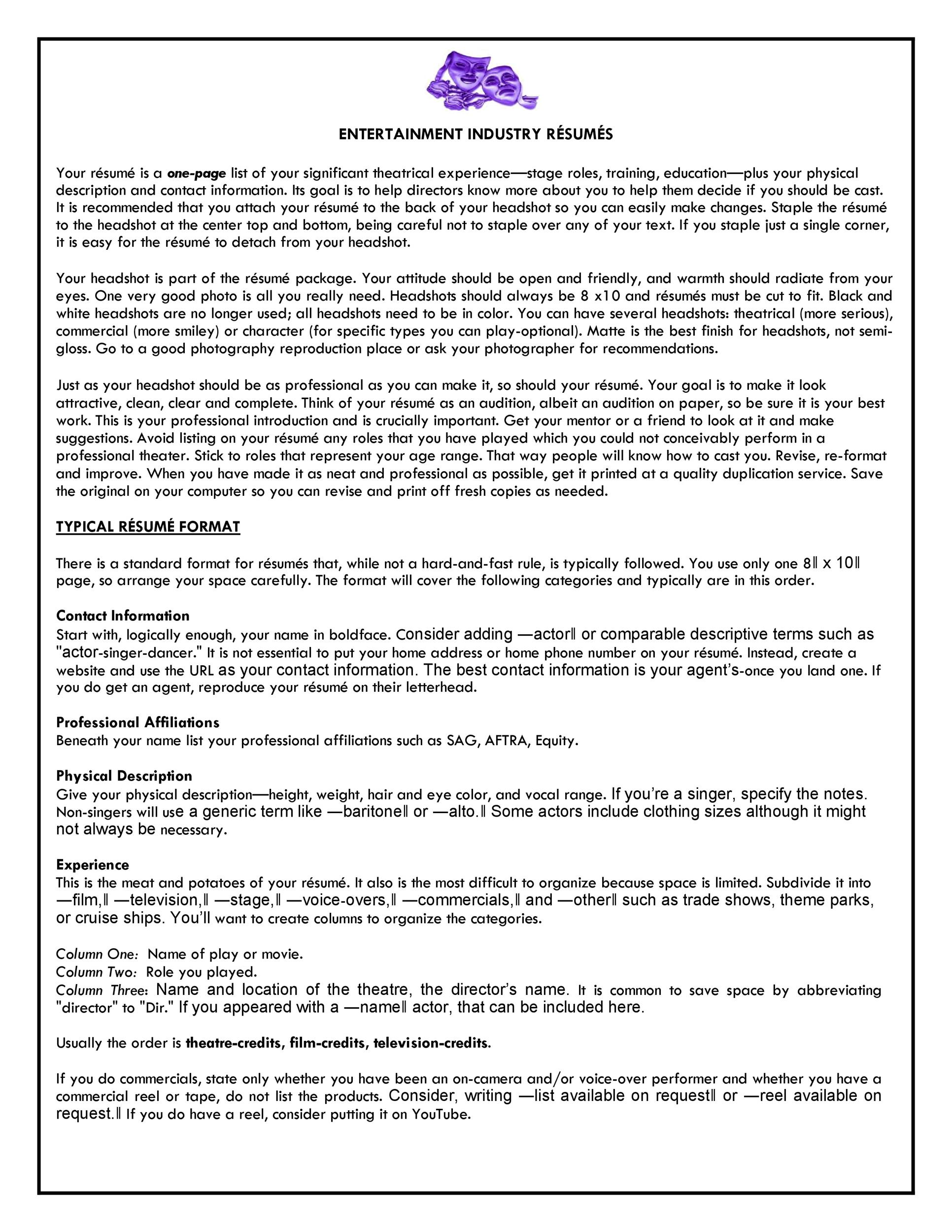 Free acting resume template 50