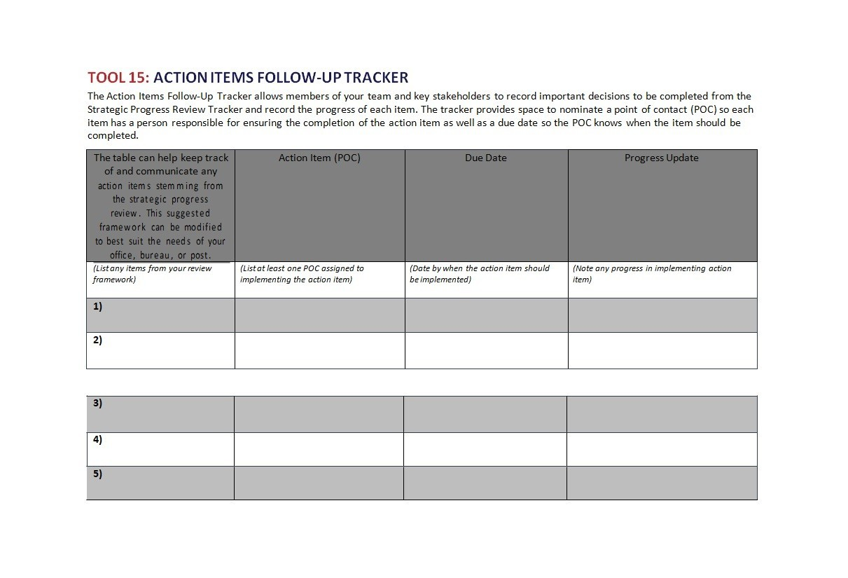 Free action items template 04