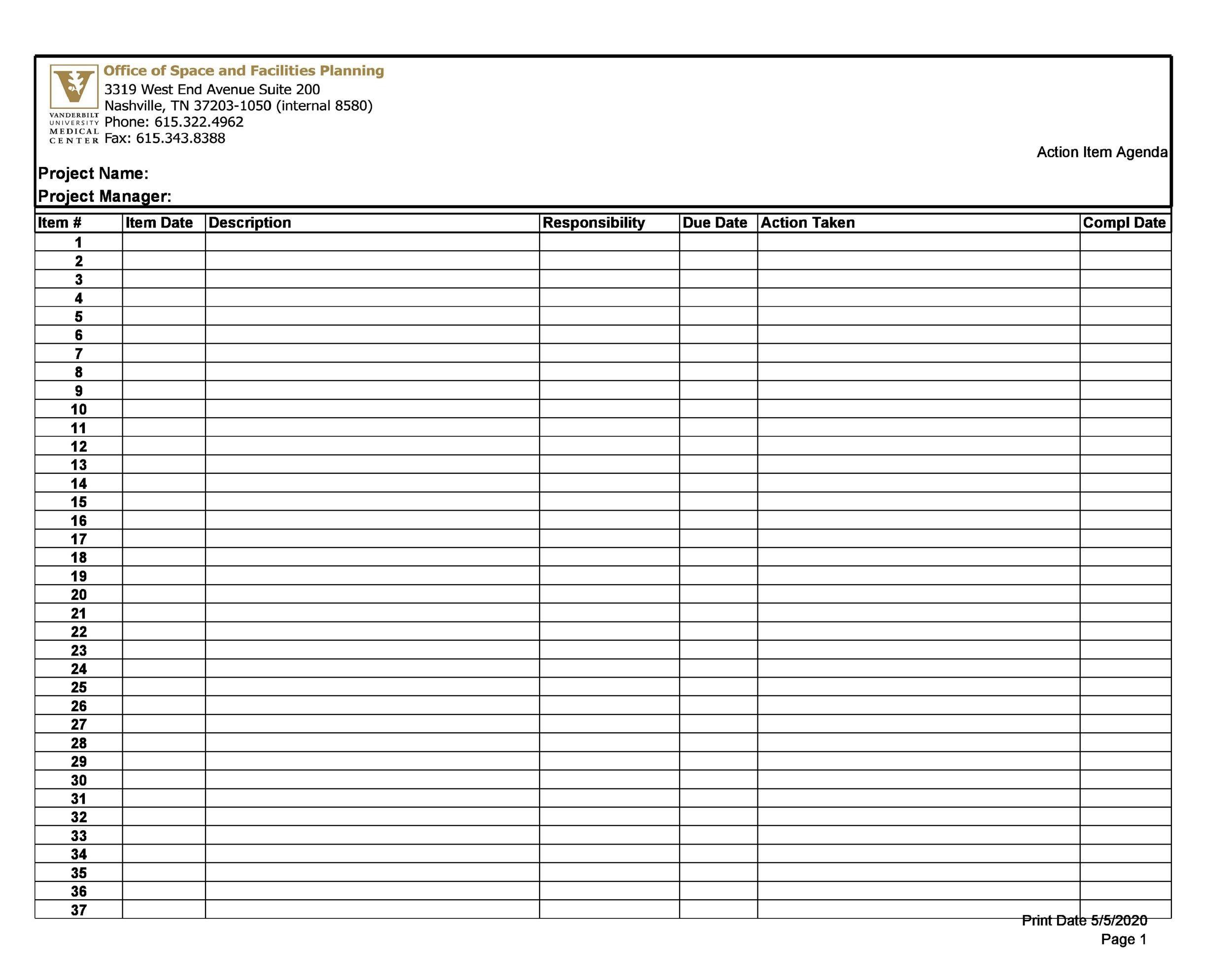 Free action items template 05