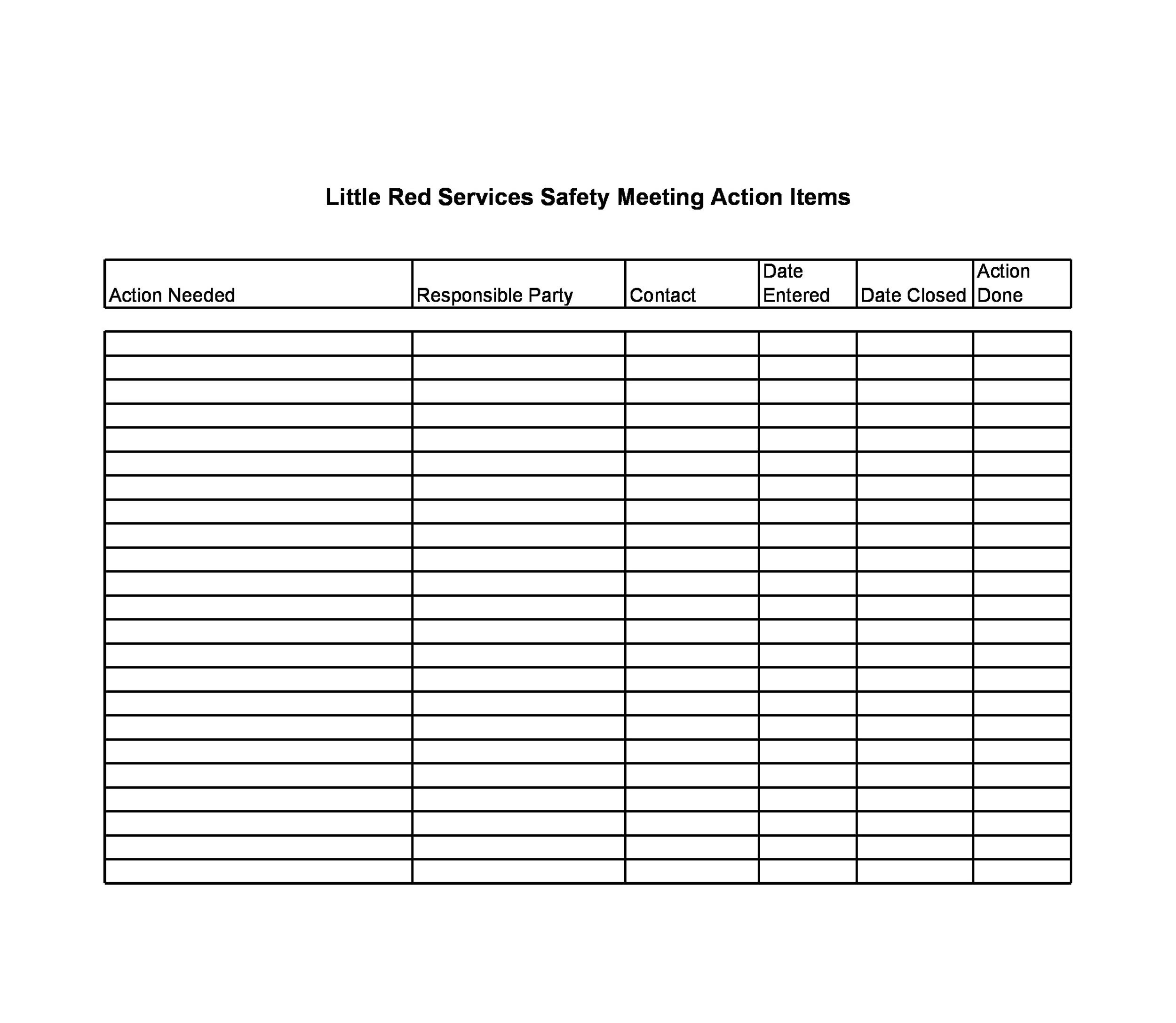 Free action items template 07