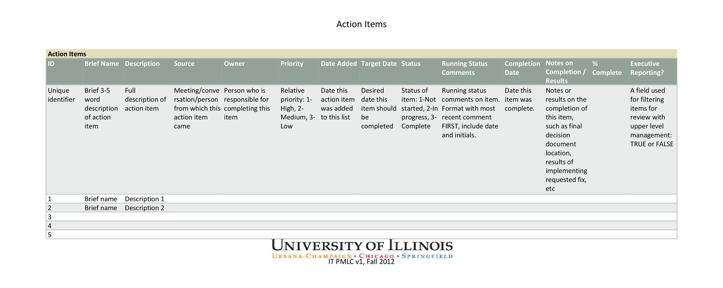 Free action items template 09