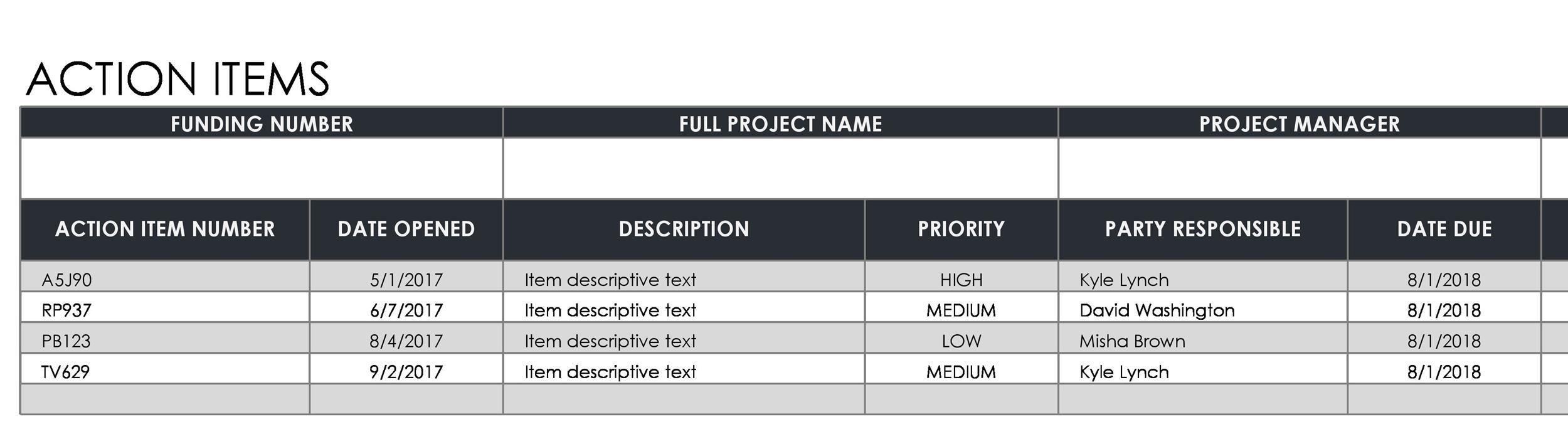 Free action items template 14