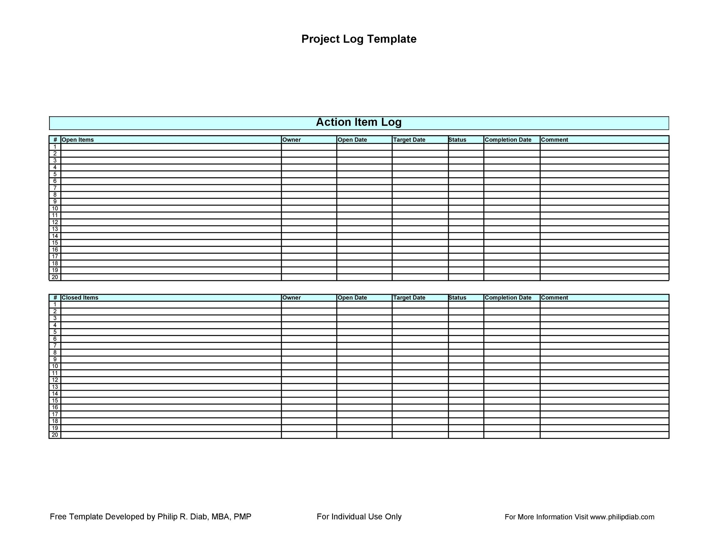 Free action items template 22