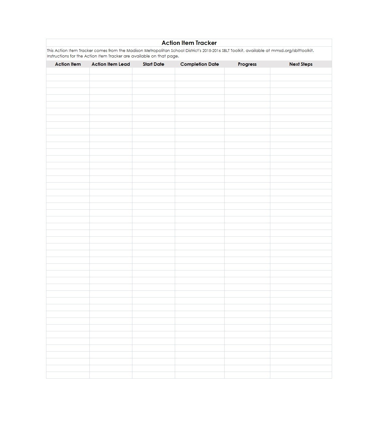 Free action items template 26