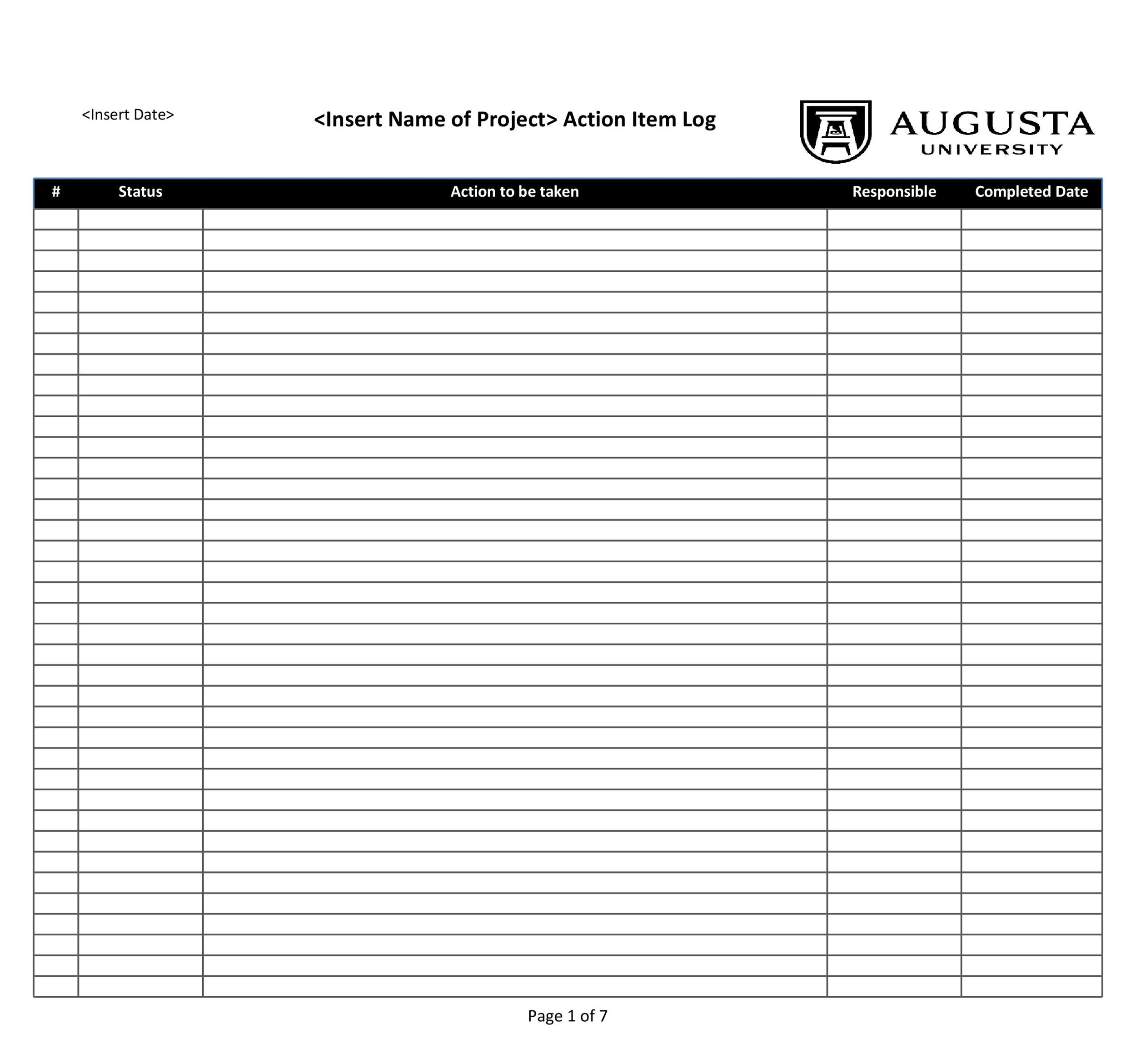Free action items template 30