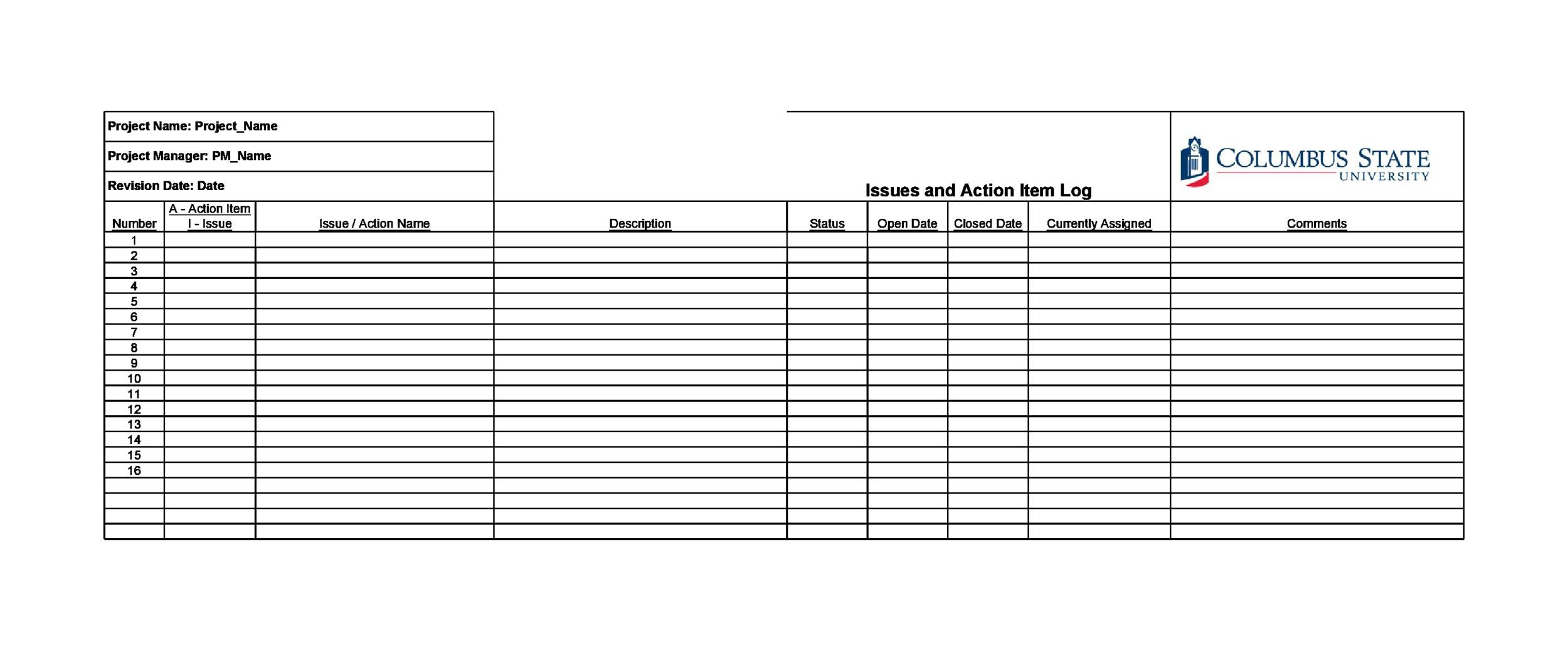 Free action items template 32