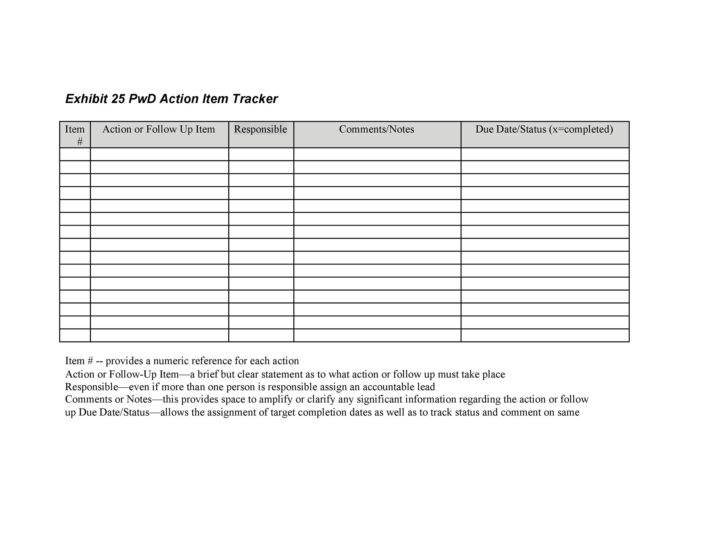 Free action items template 45
