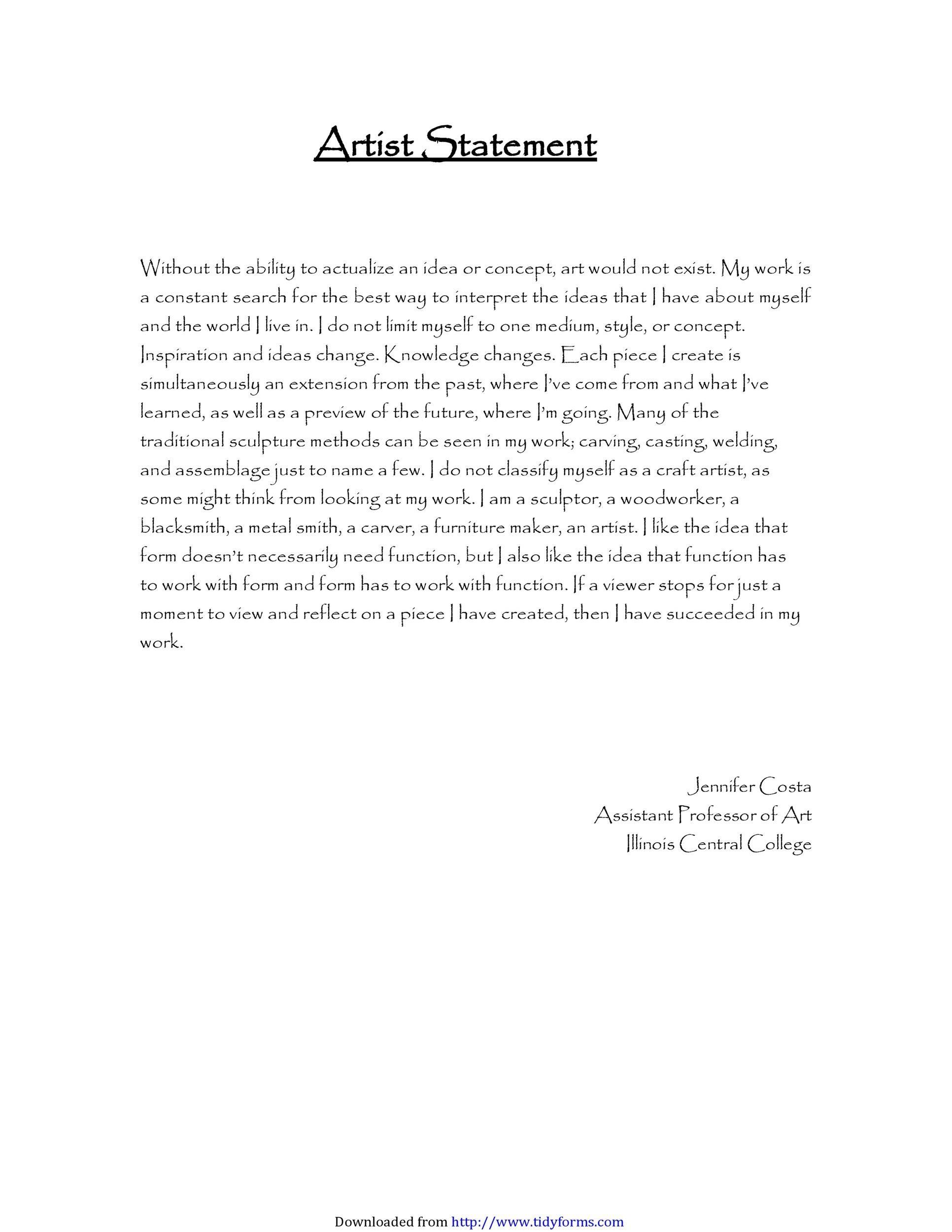 Free artist statement 10
