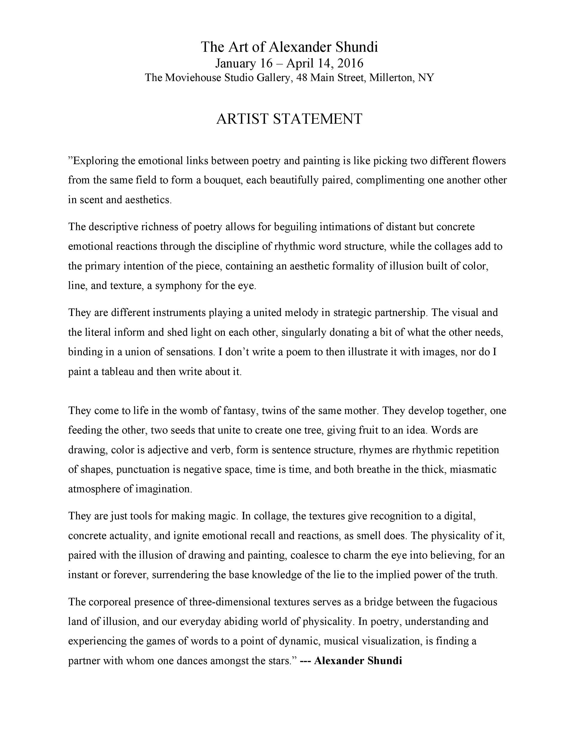 Free artist statement 14