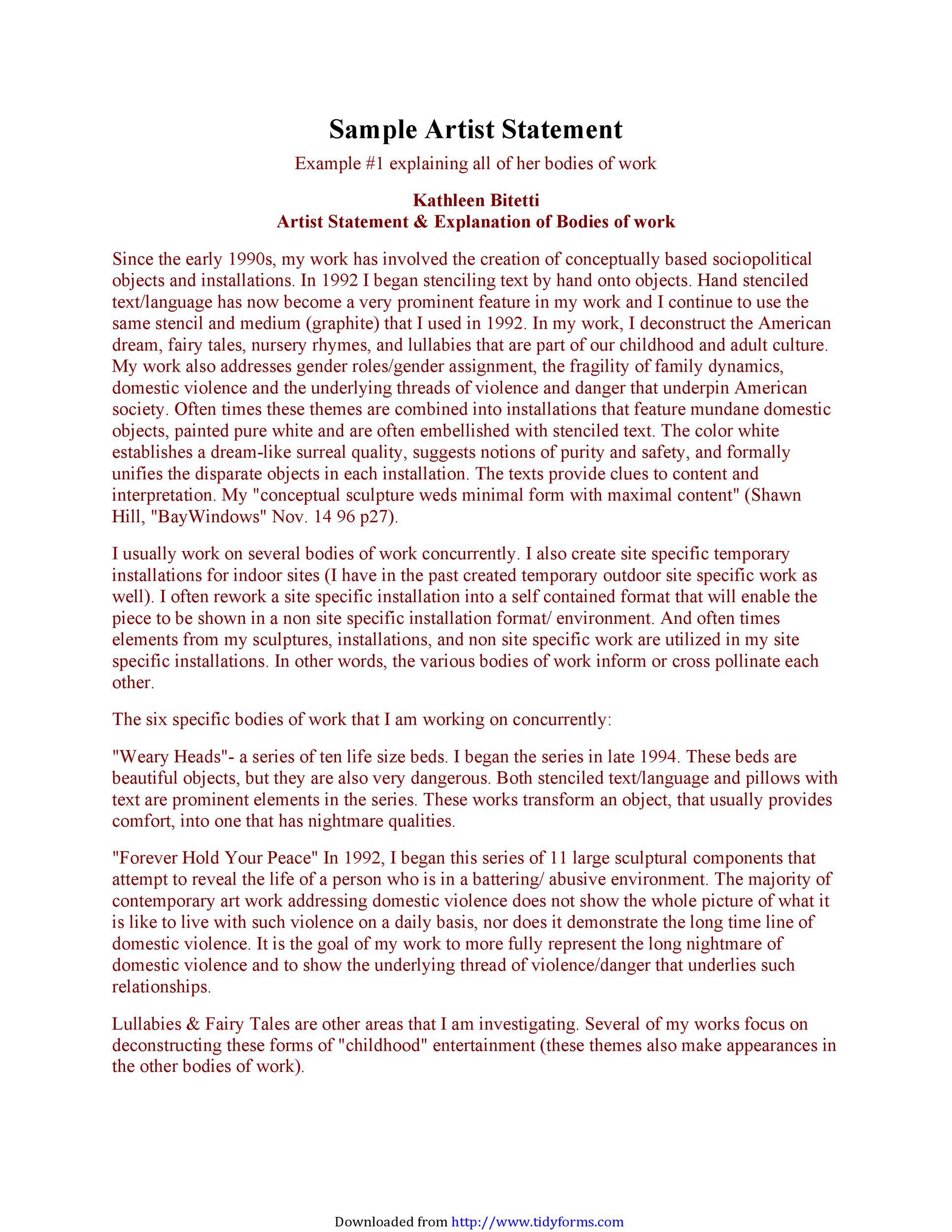 Free artist statement 16