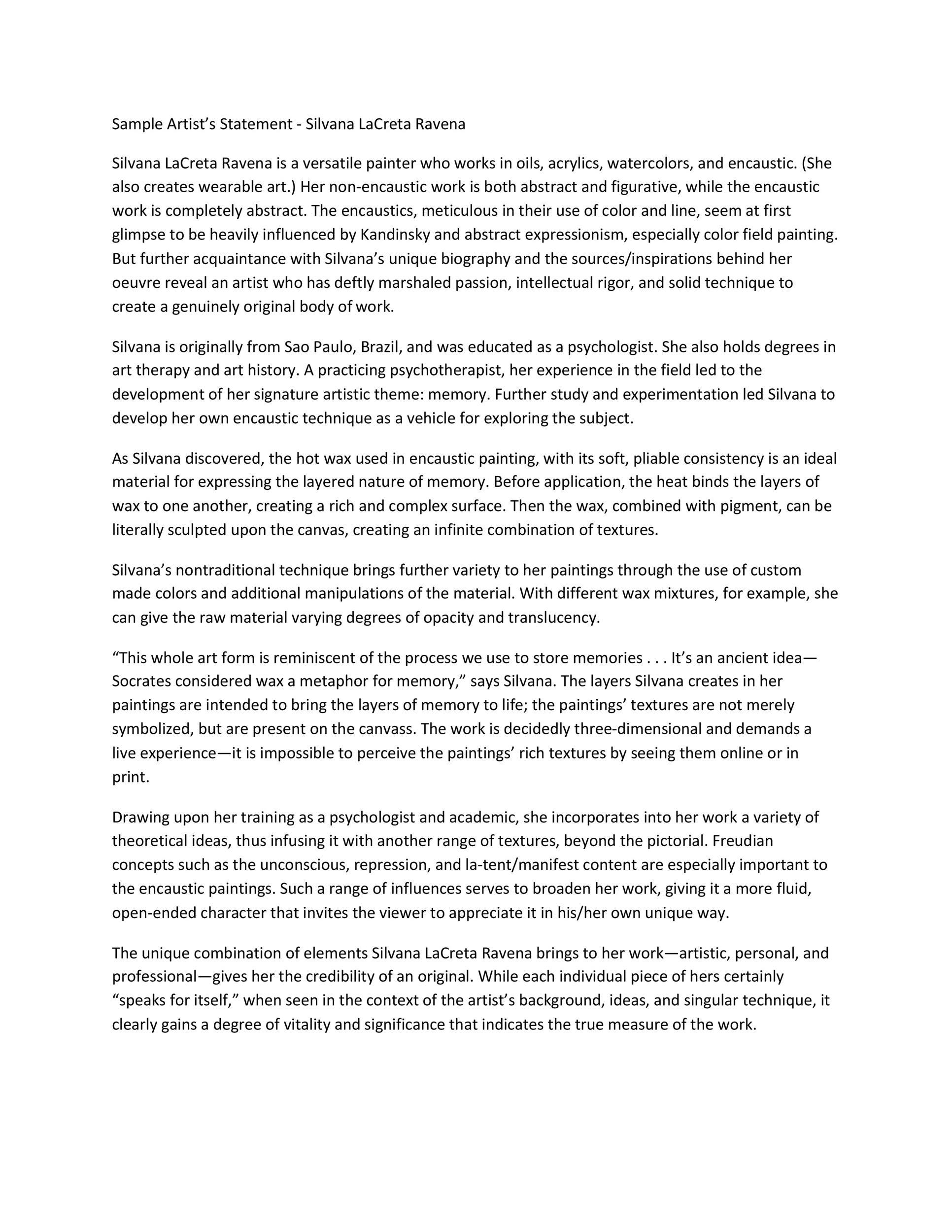 Free artist statement 20