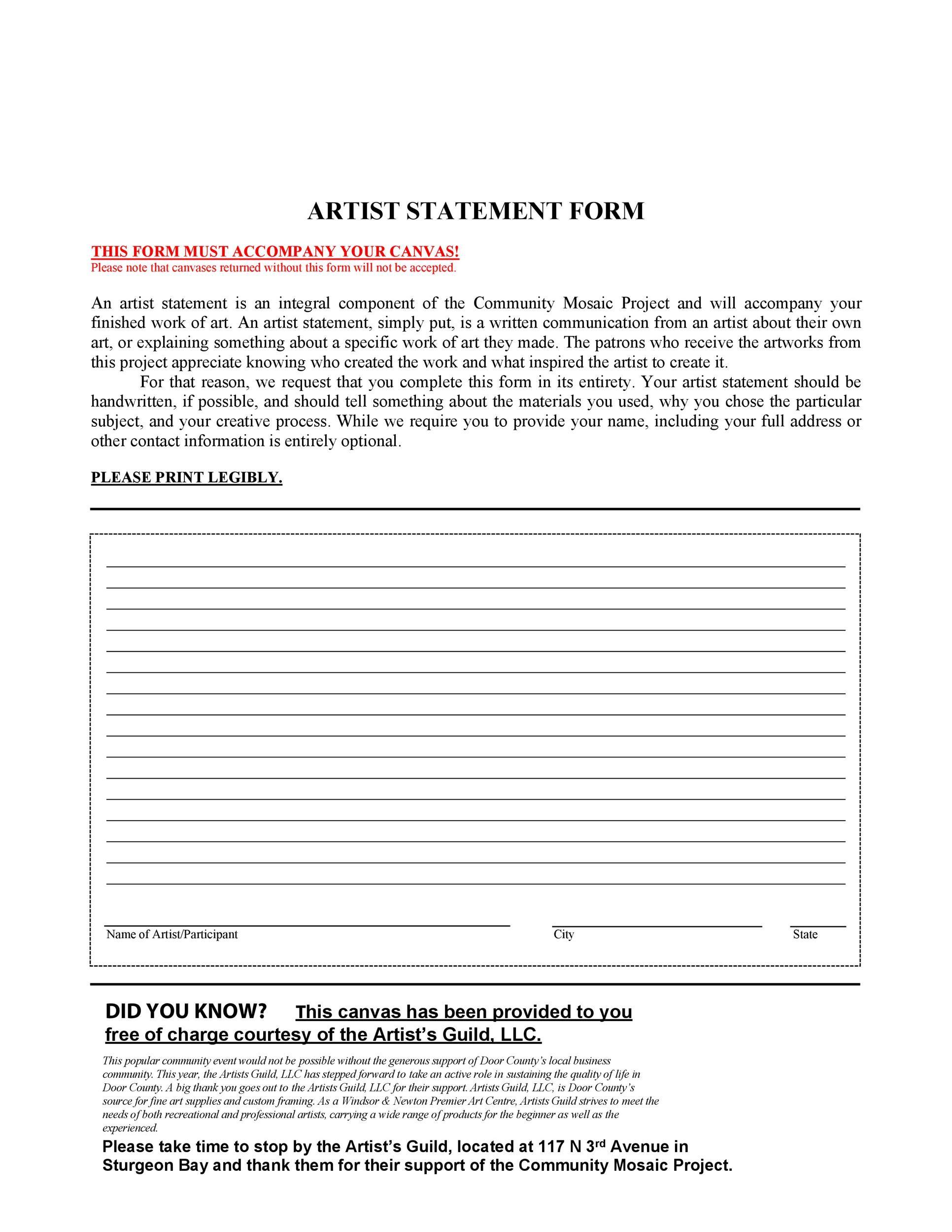Free artist statement 24