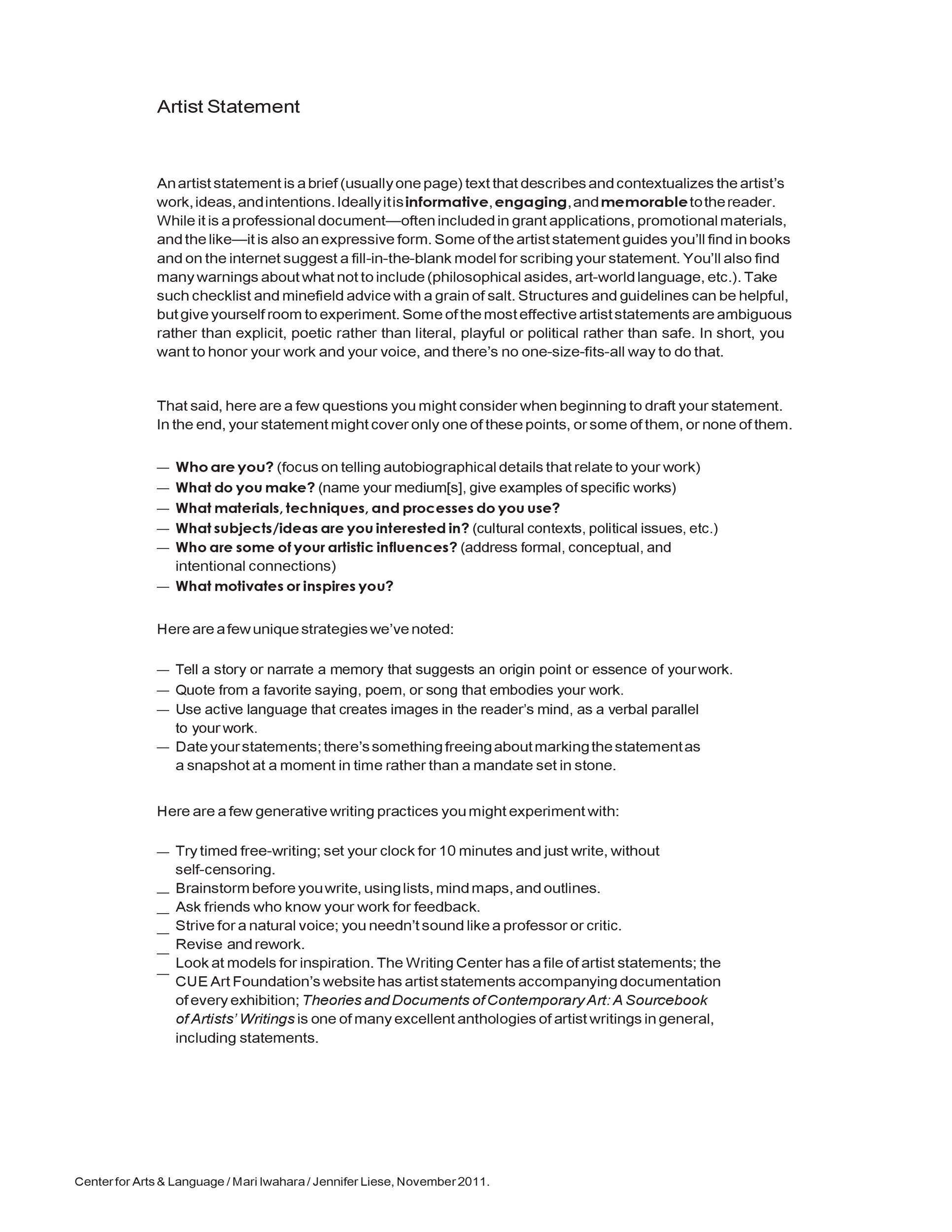 Free artist statement 25
