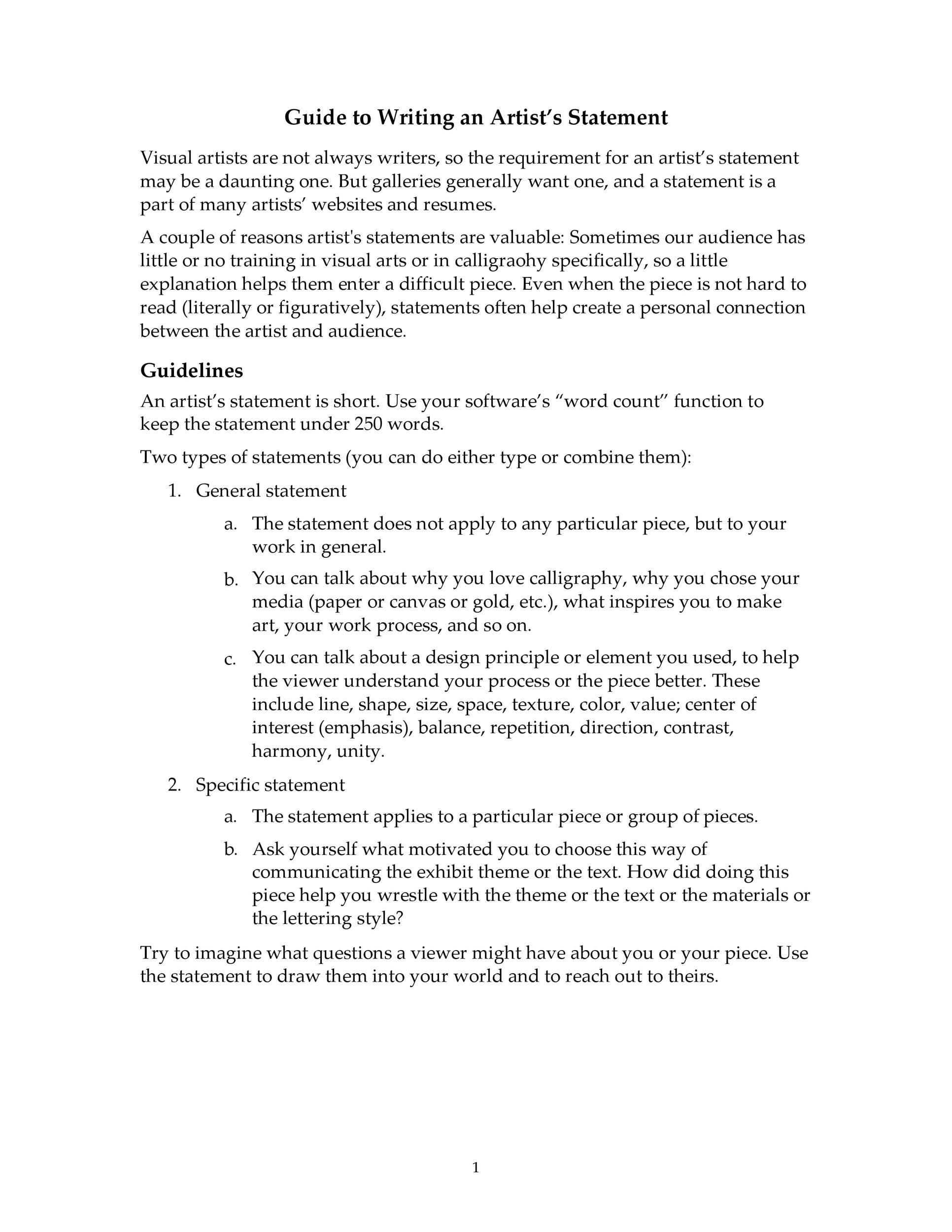 Free artist statement 27