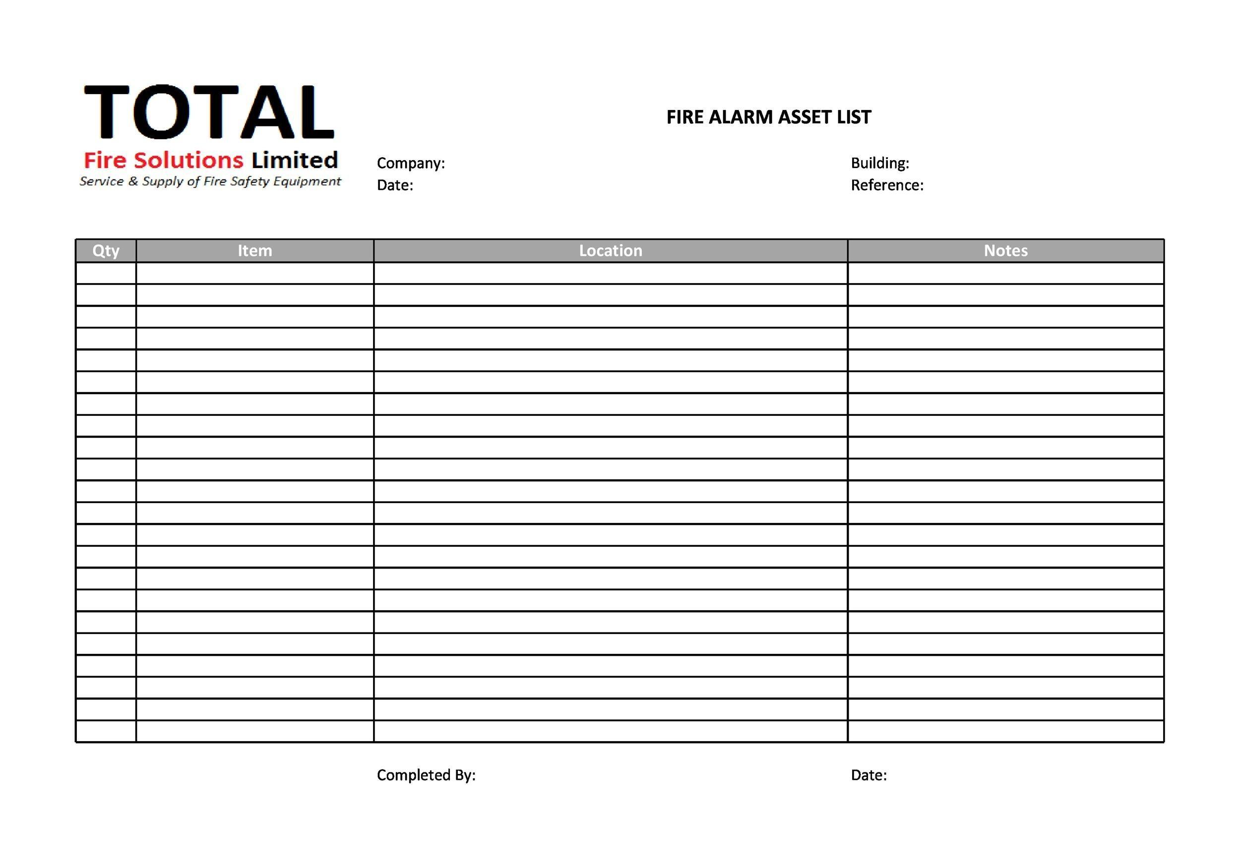 Free asset list template 02