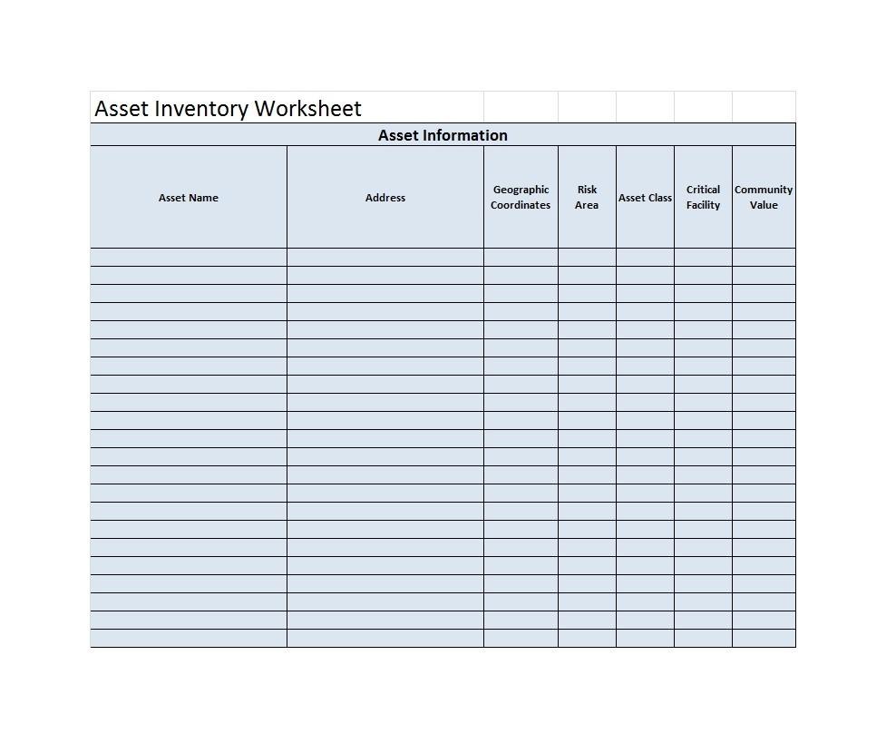 Free asset list template 04