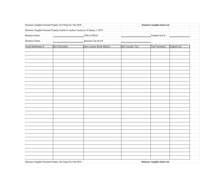 Free asset list template 05