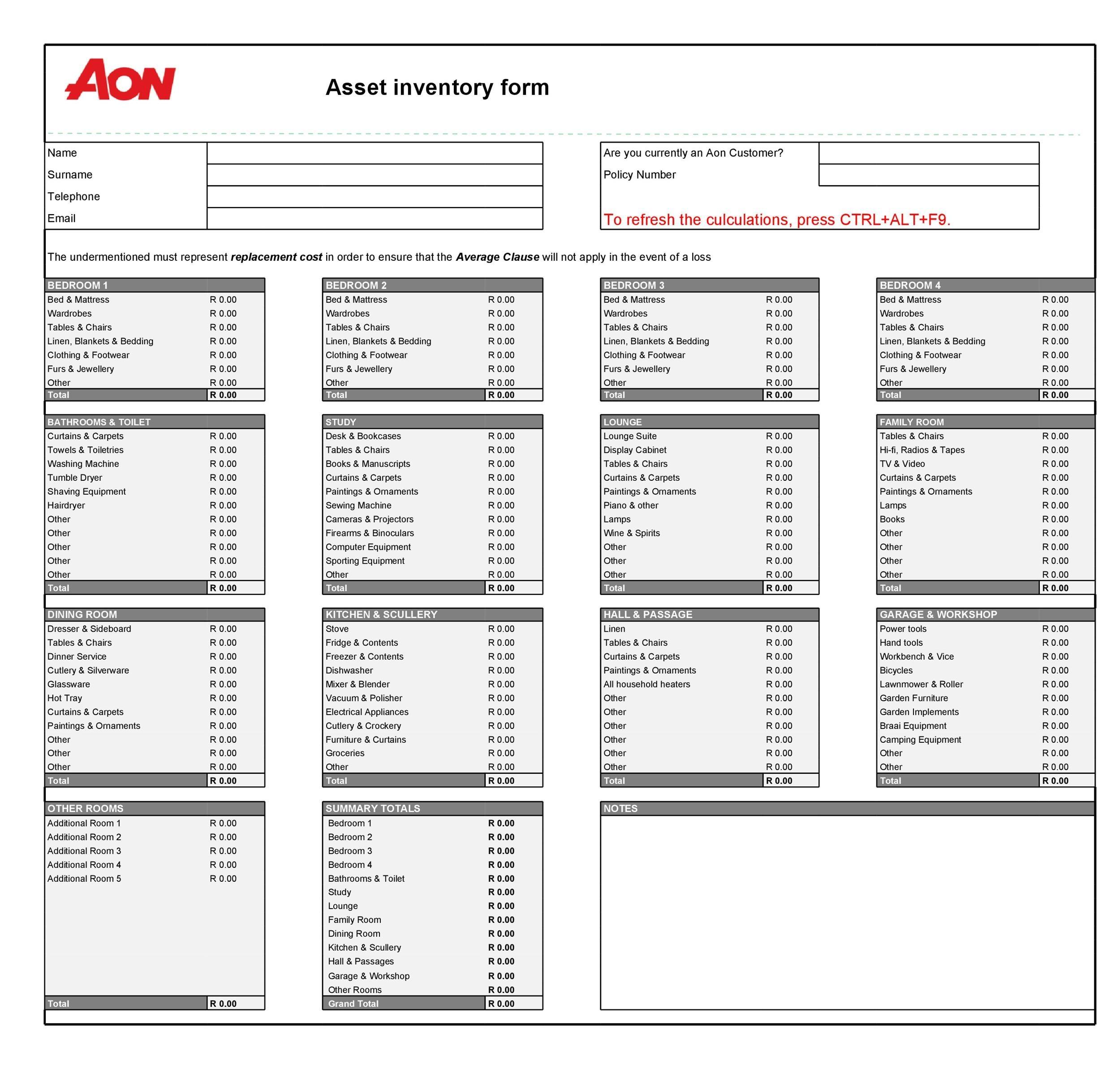 Free asset list template 06