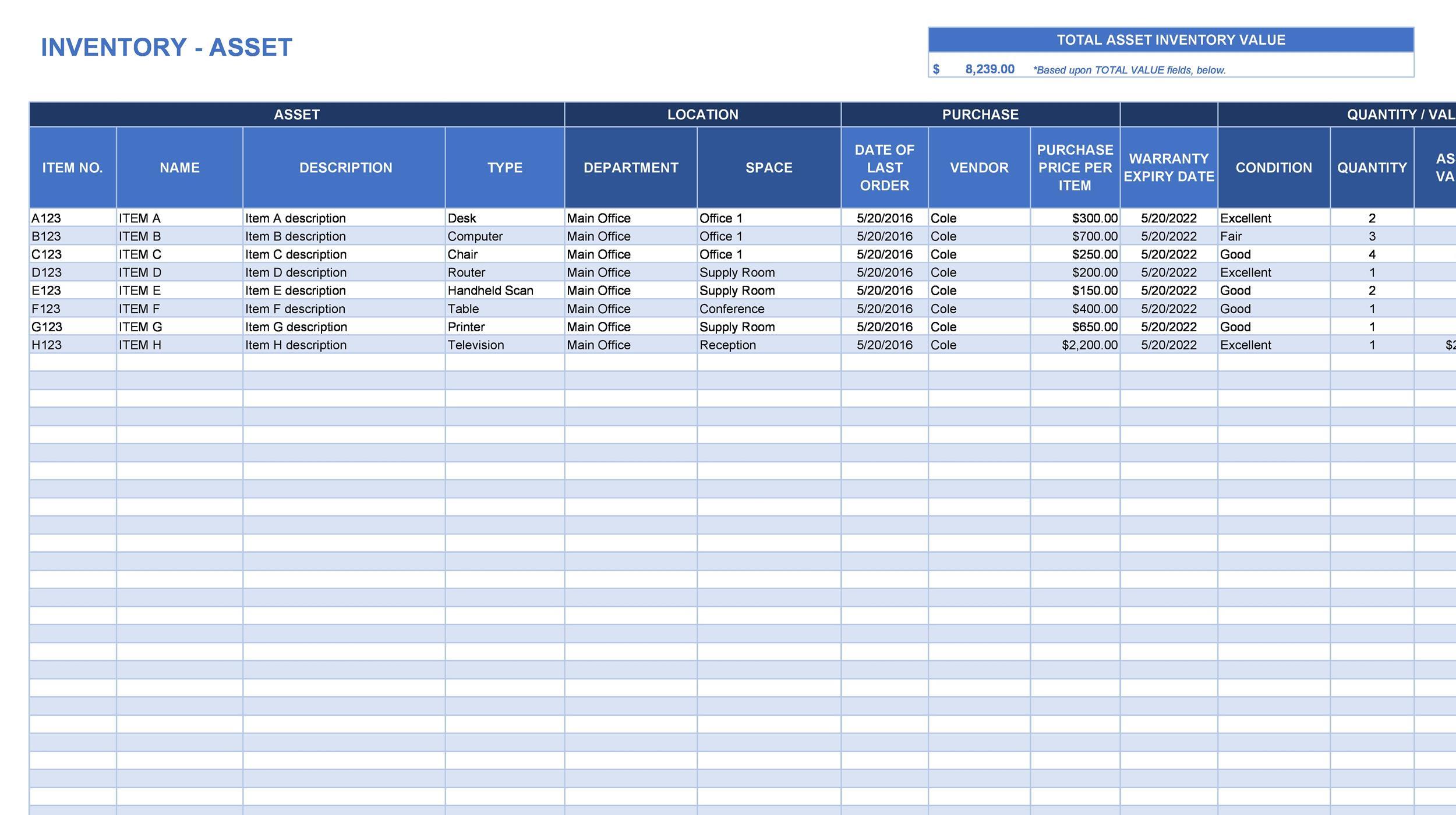 Free asset list template 07