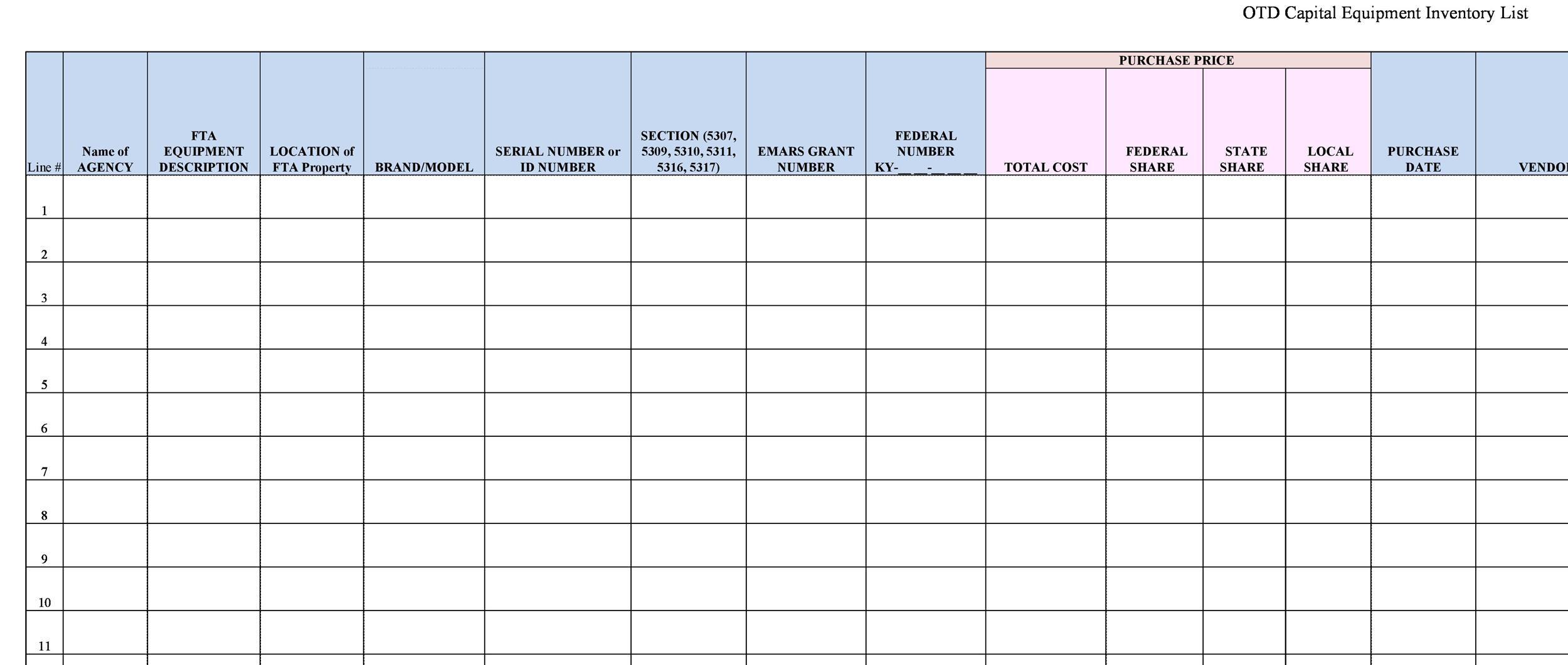 Free asset list template 09