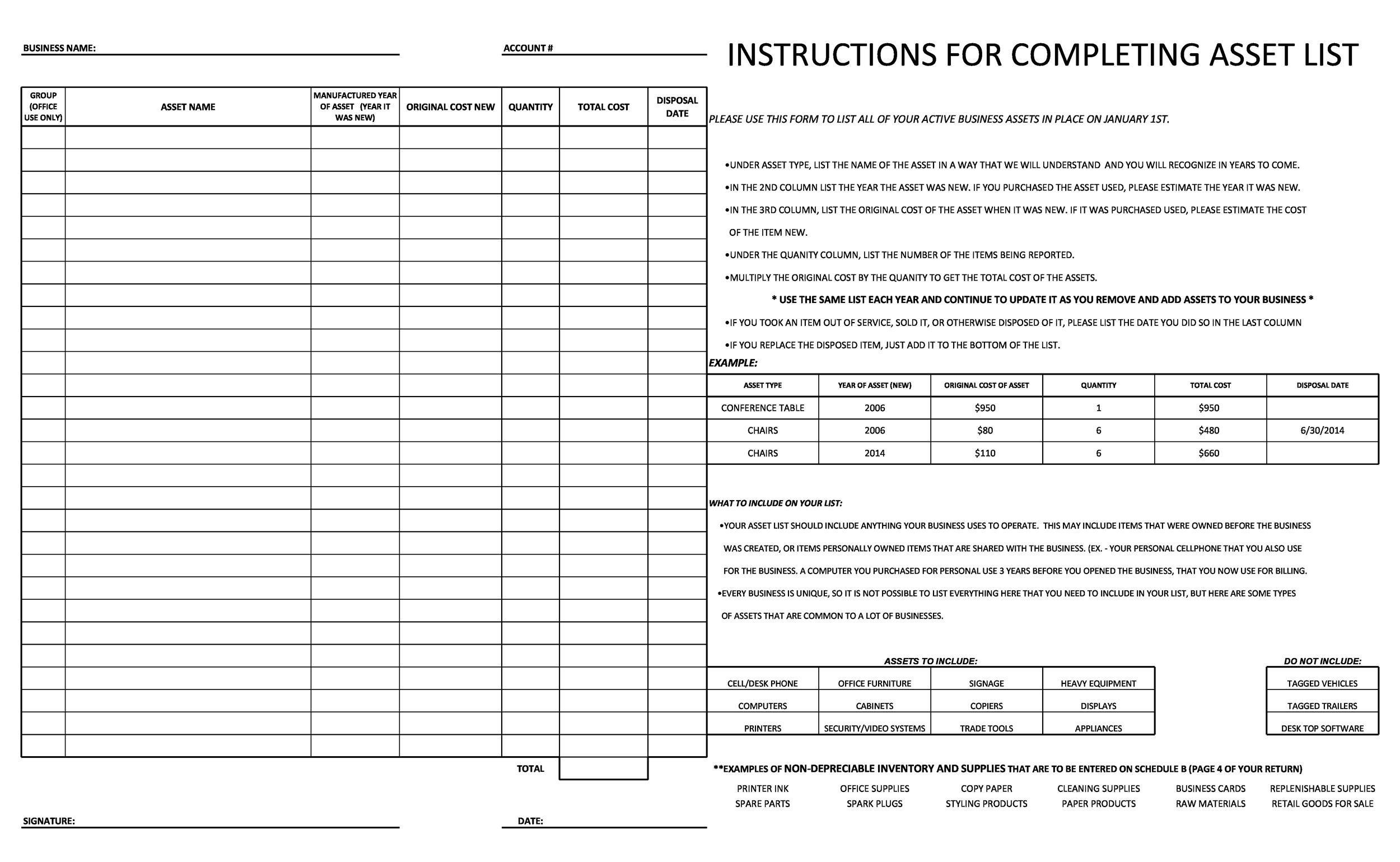 Free asset list template 14