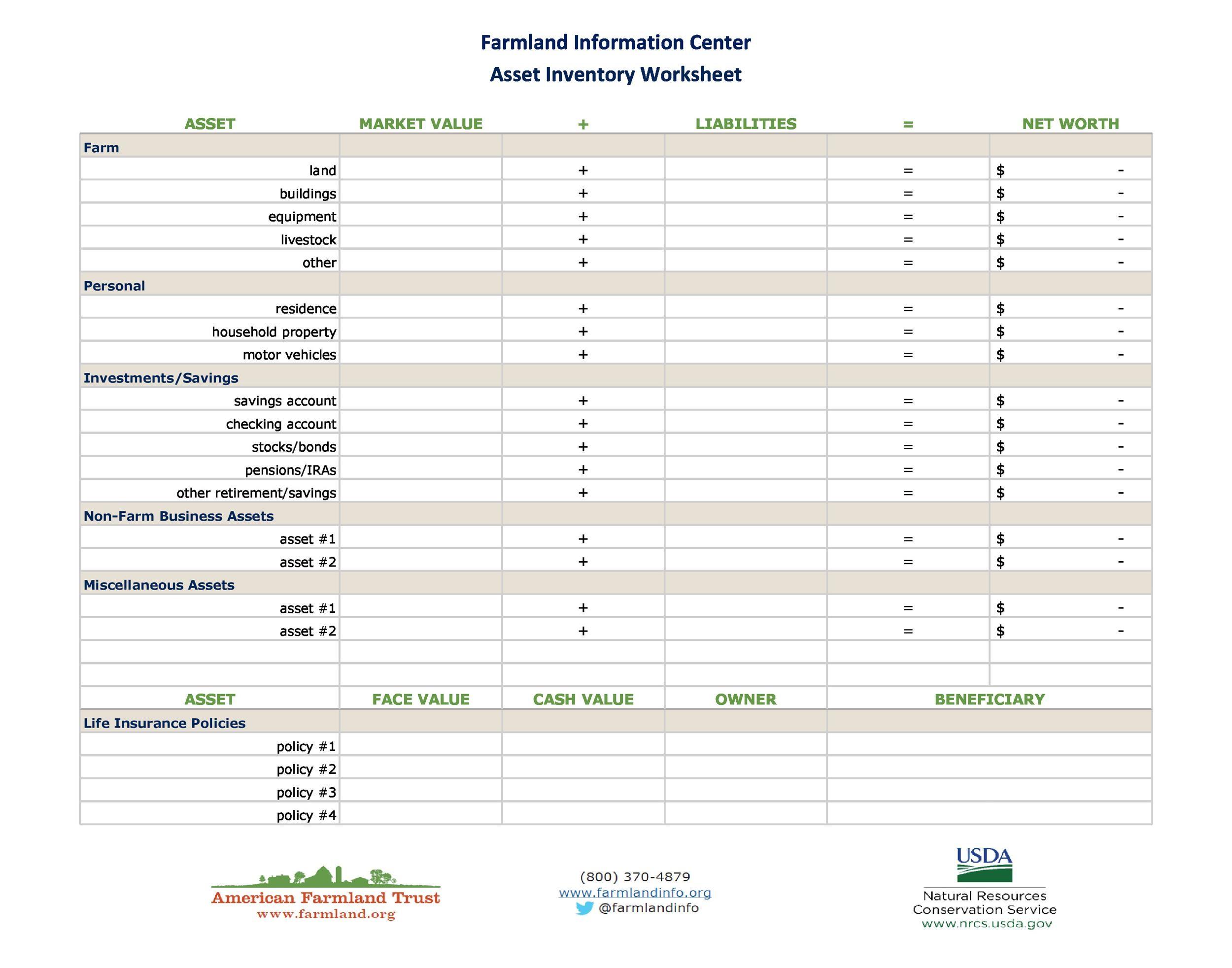 Free asset list template 23