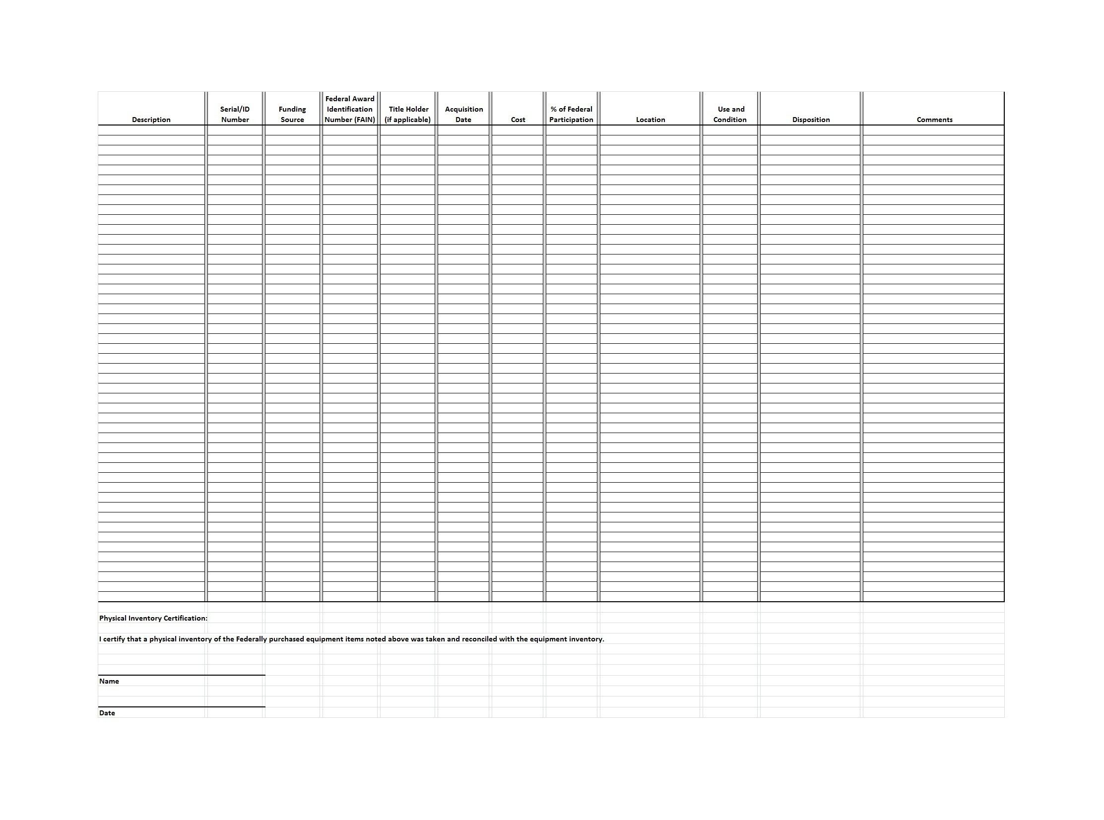 Free asset list template 38