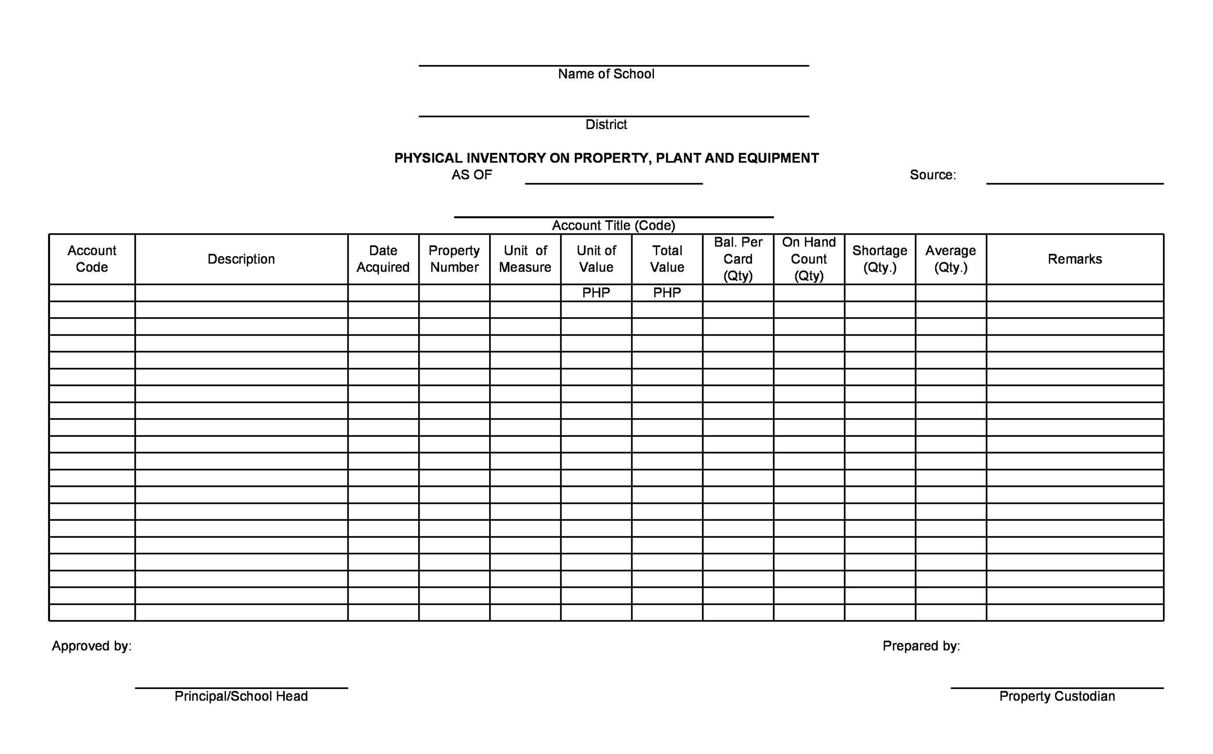 Free asset list template 39