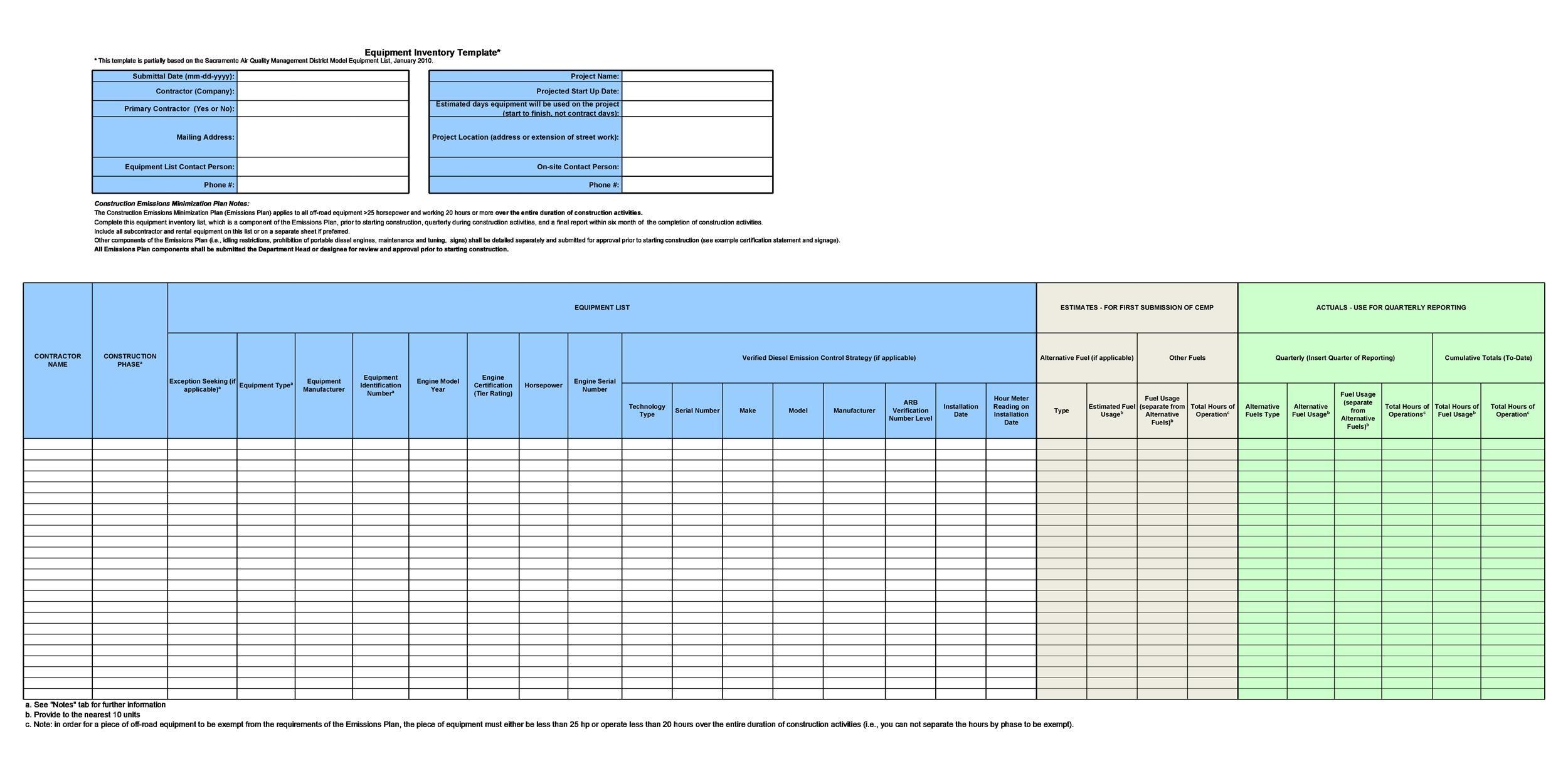 Free asset list template 40