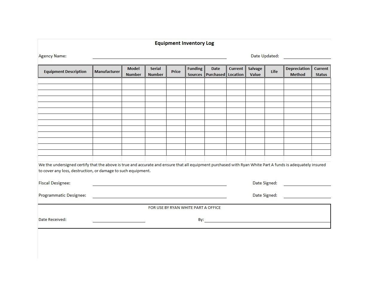 Free asset list template 44