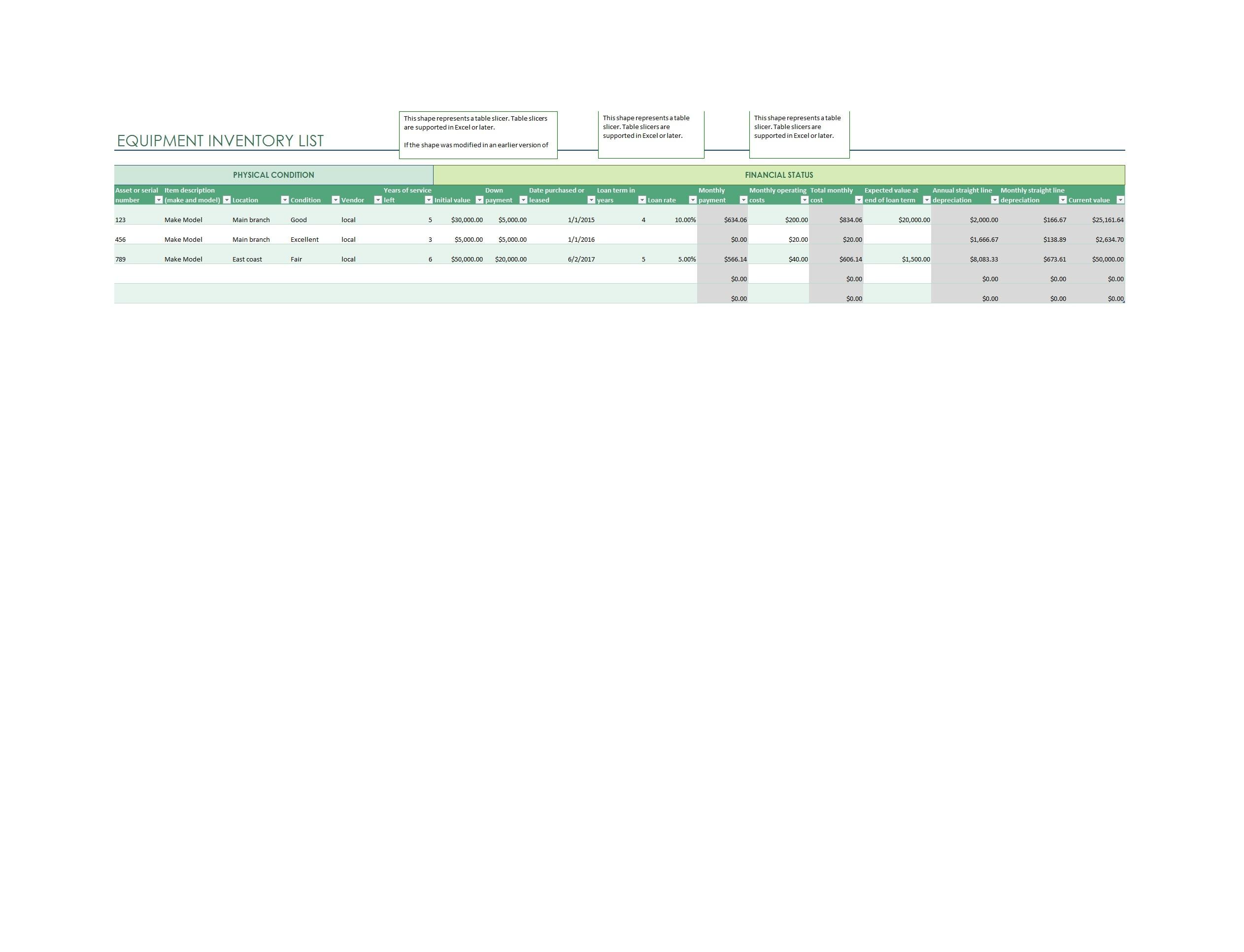 Free asset list template 48