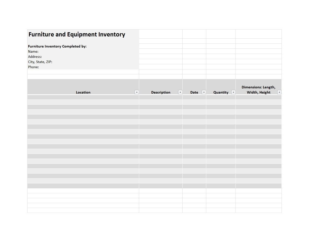 Free asset list template 49