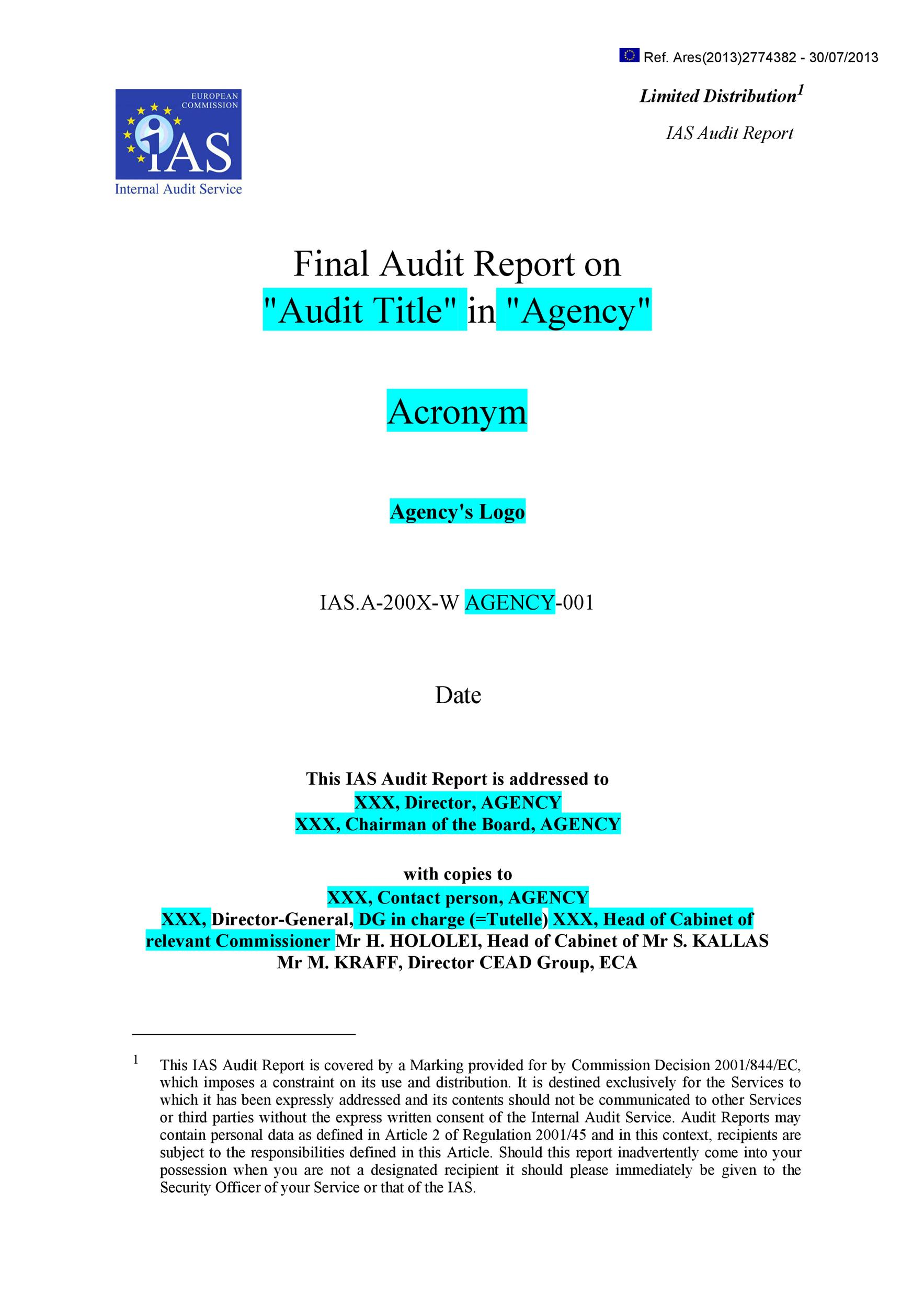 Free audit report template 01
