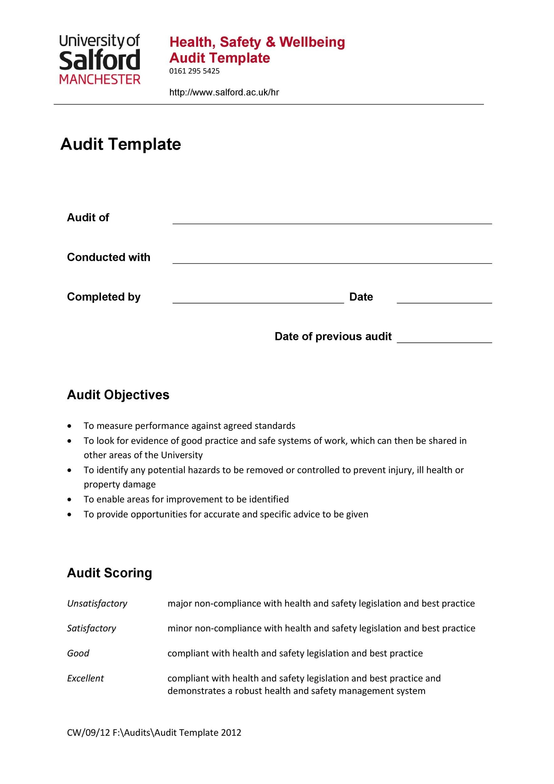 Free audit report template 11