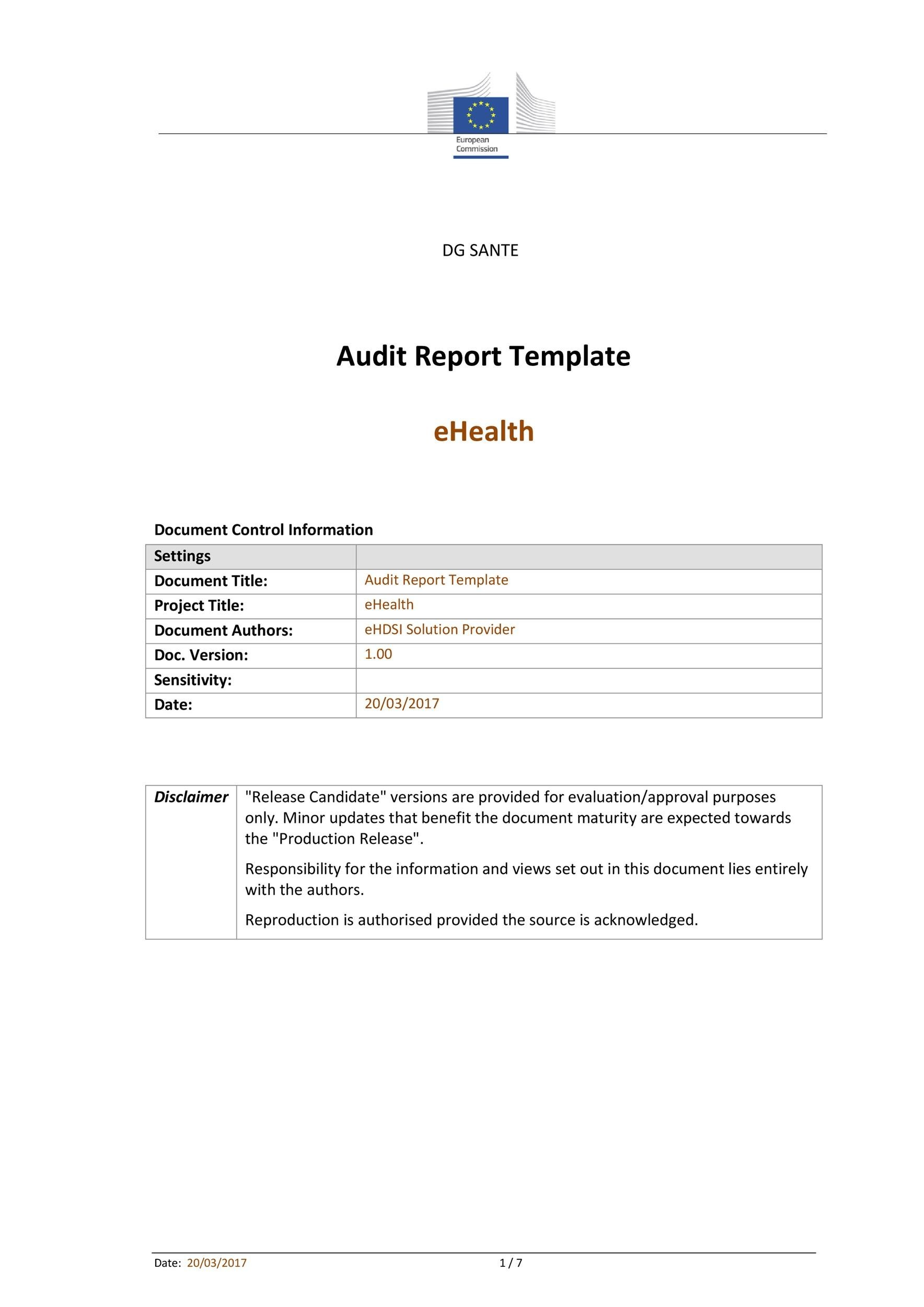 Free audit report template 22