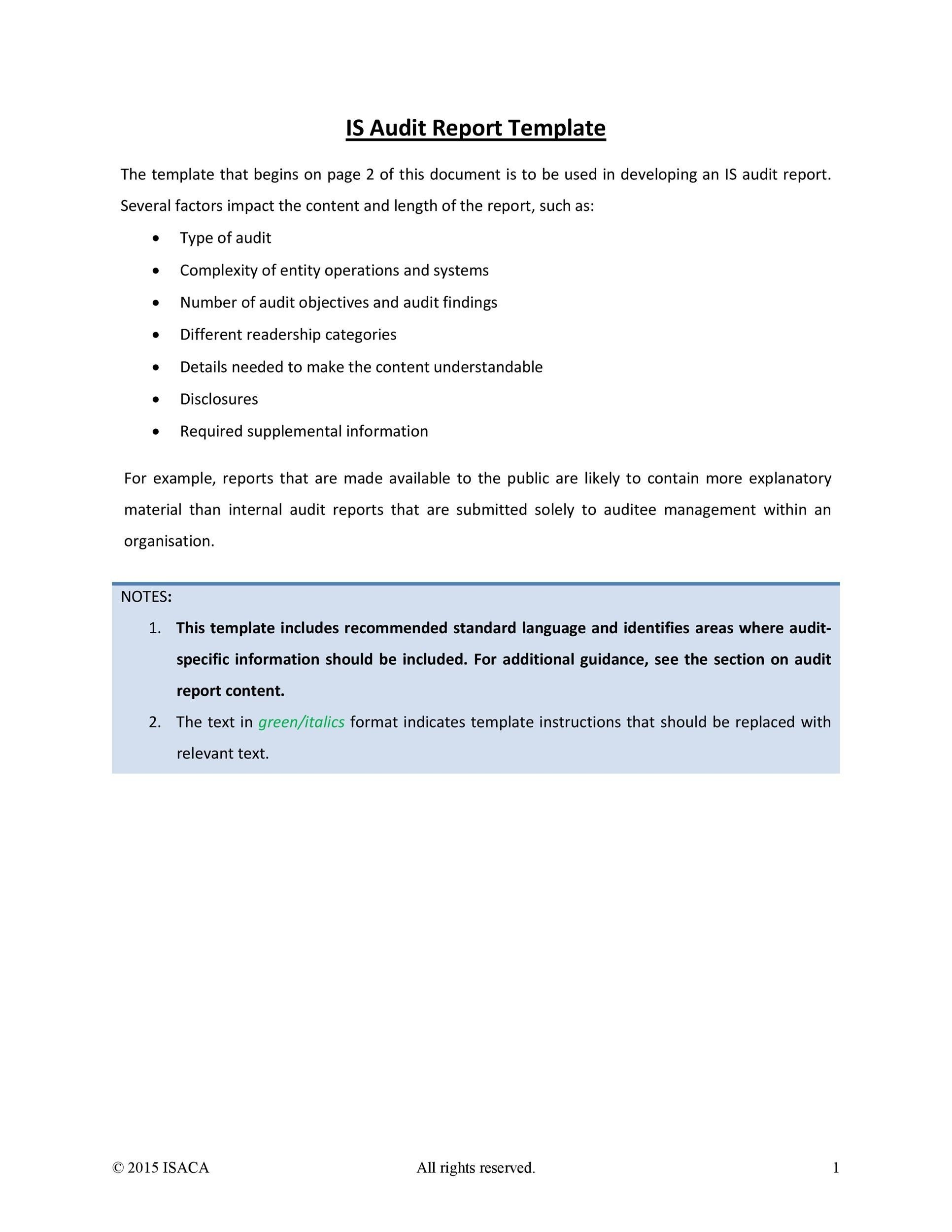 Free audit report template 25