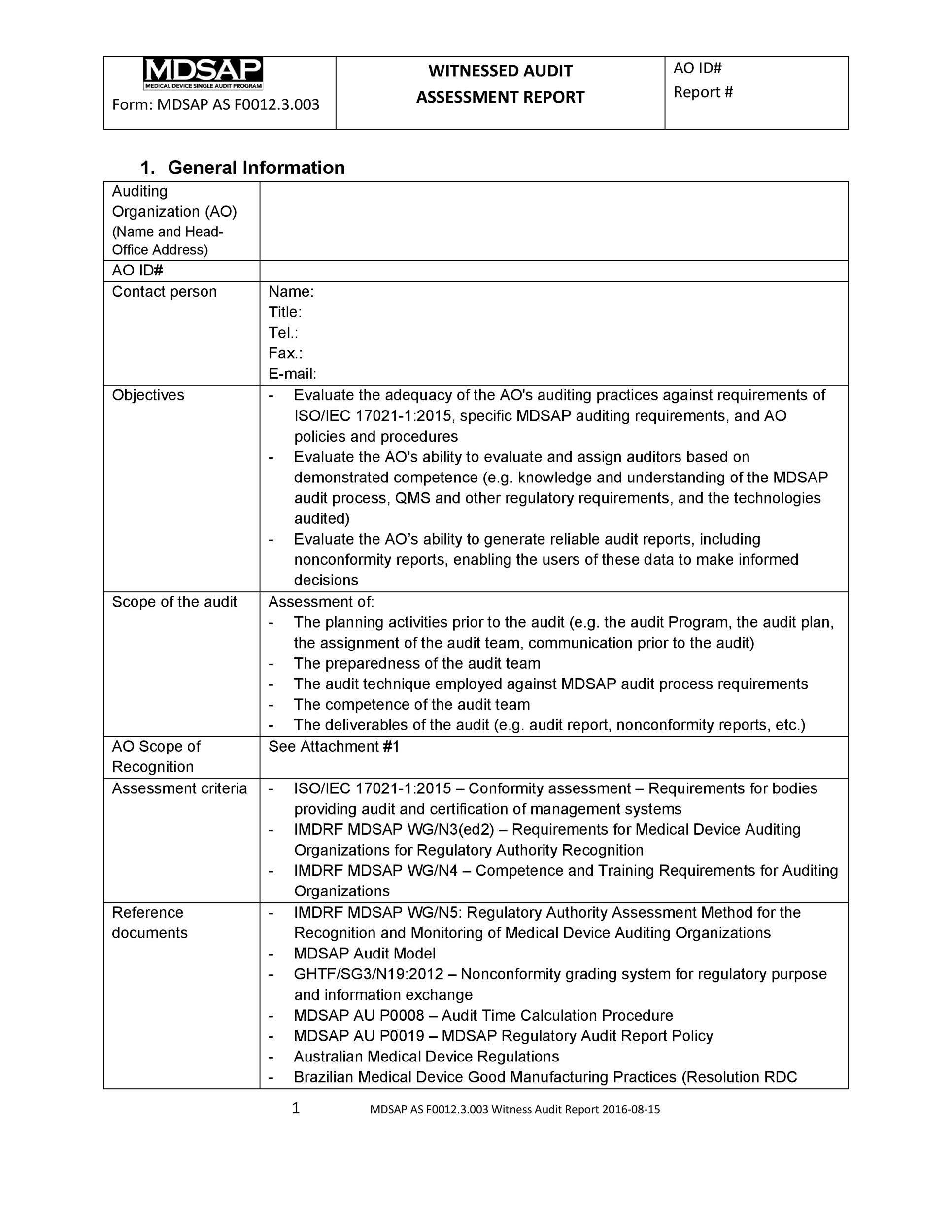 Free audit report template 27