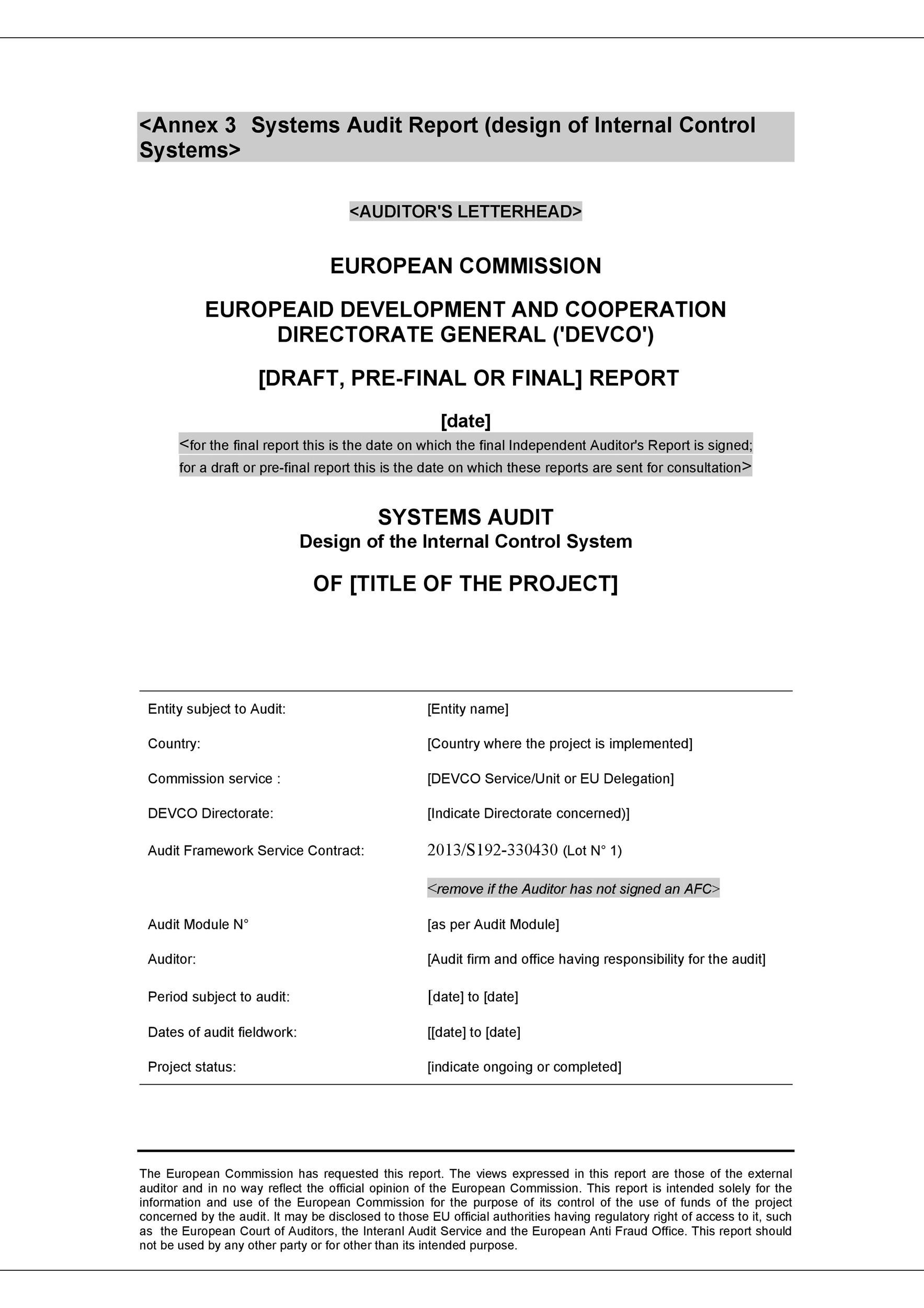 Free audit report template 28