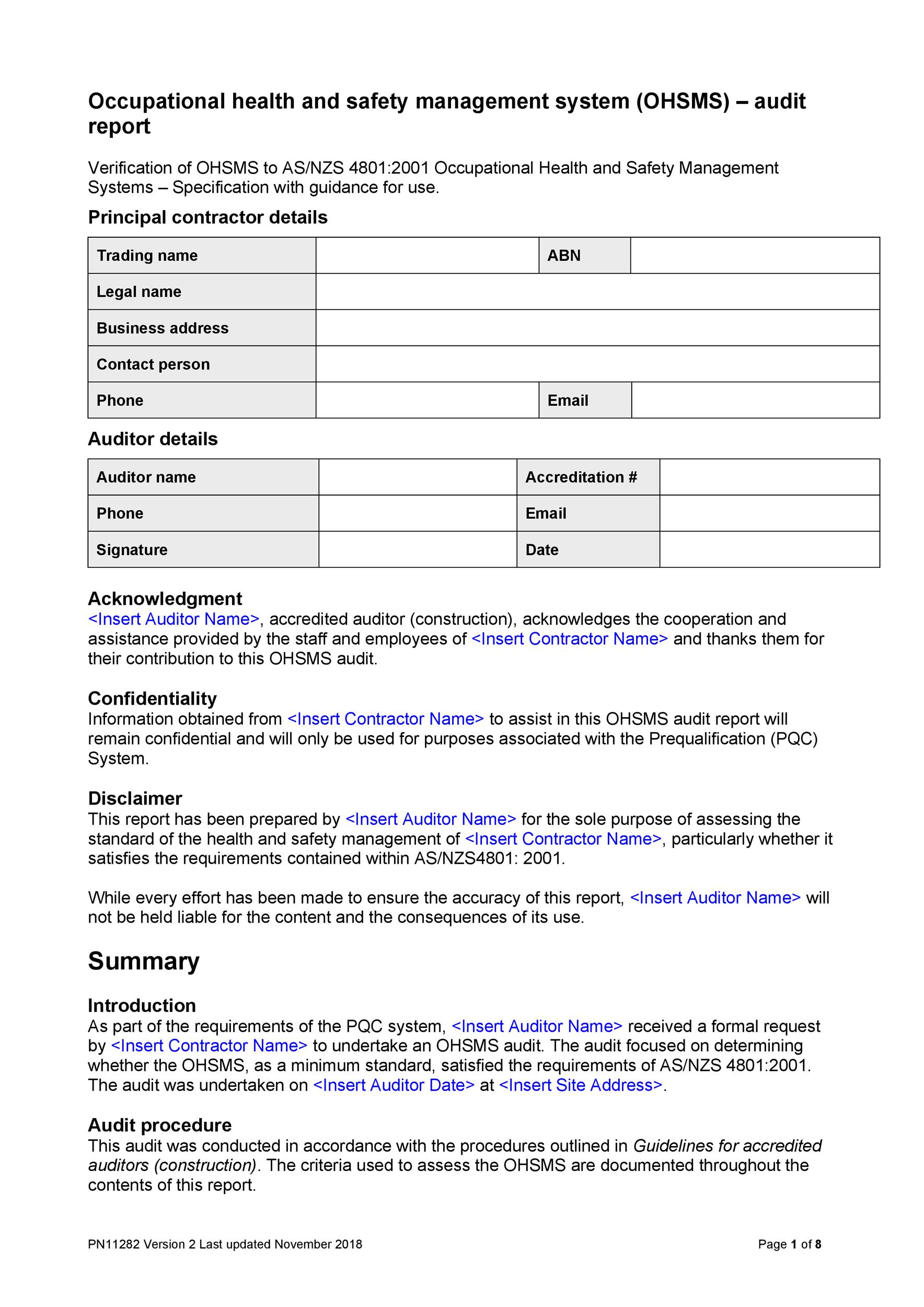 Free audit report template 35