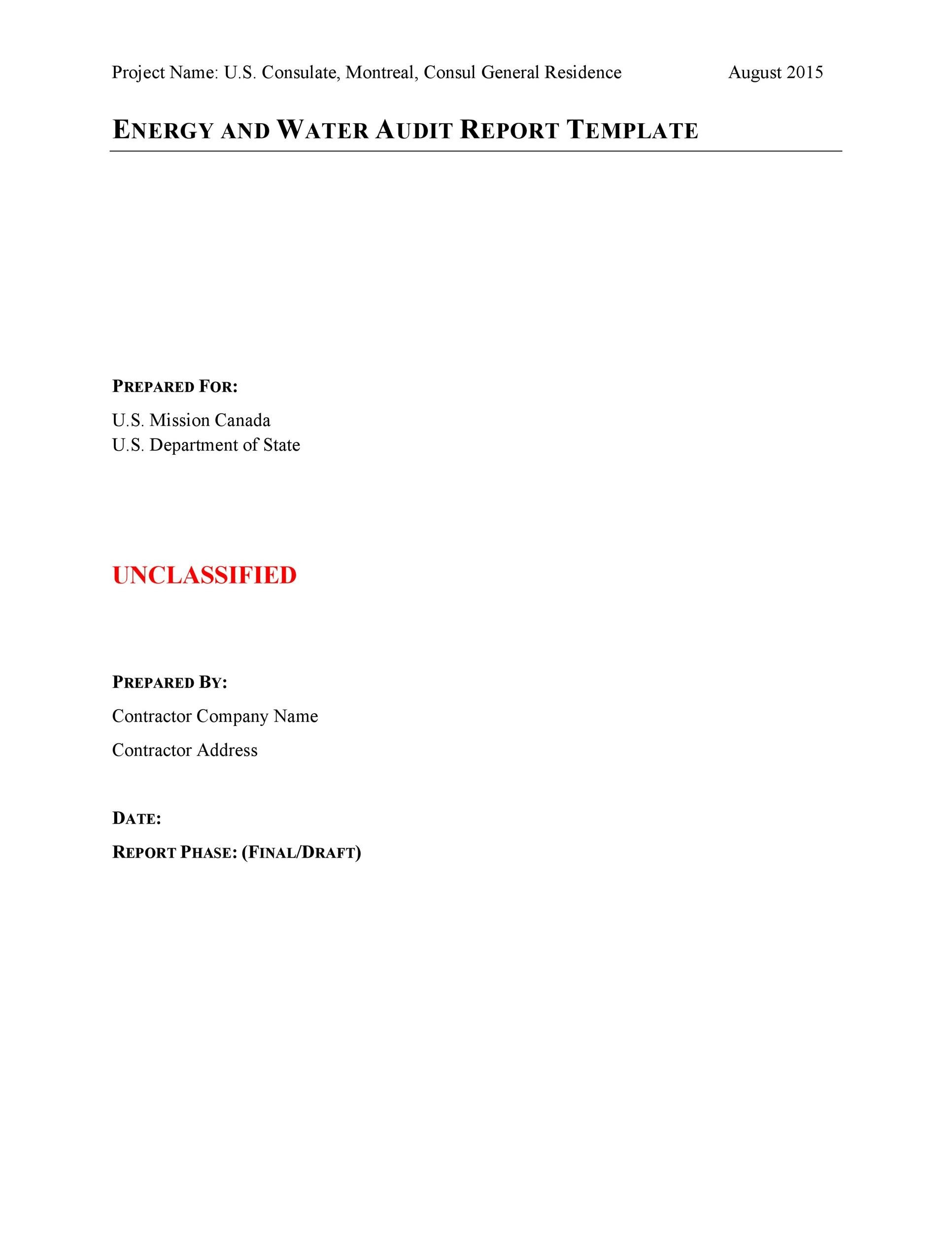 Free audit report template 37