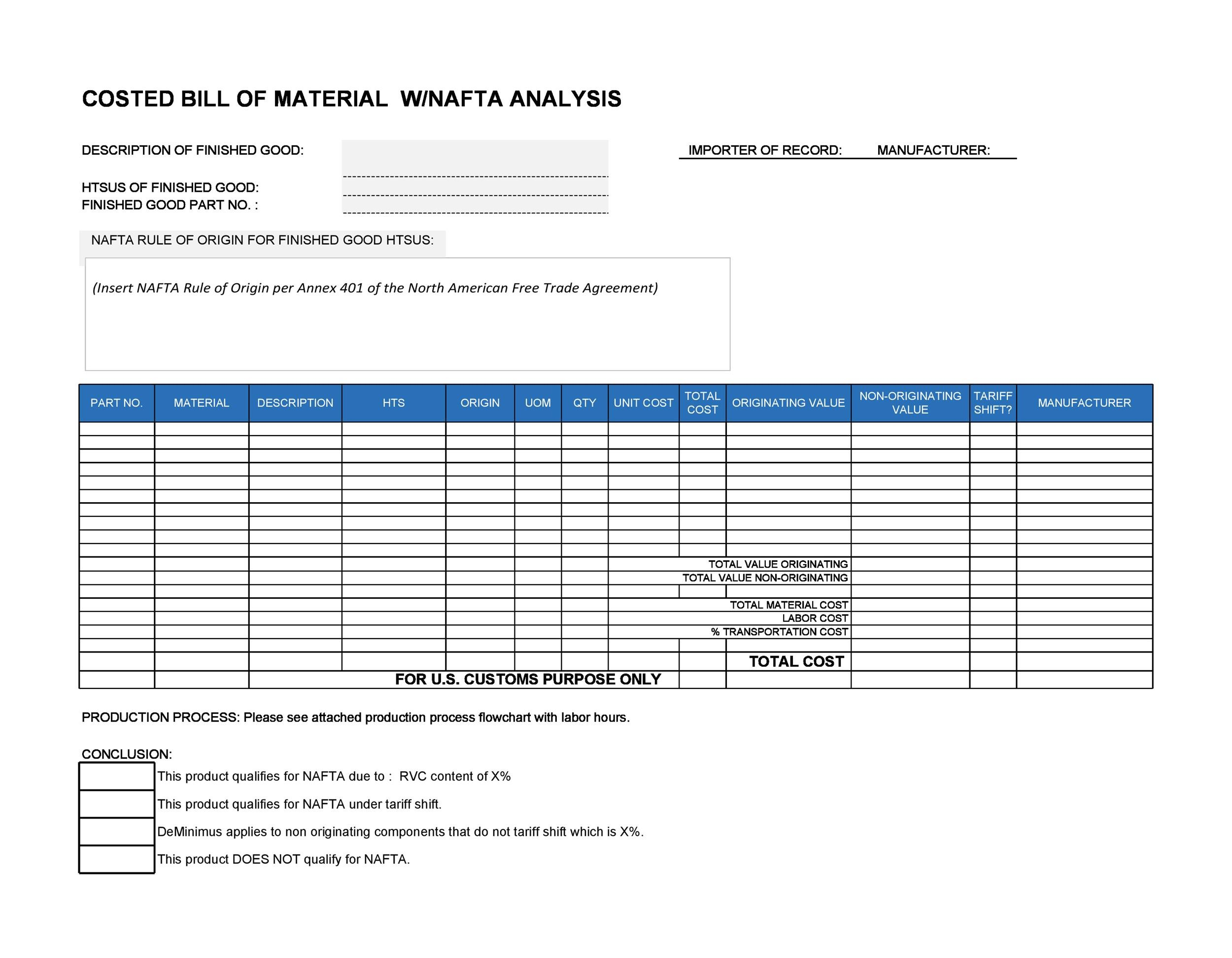 Free bill of materials template 10
